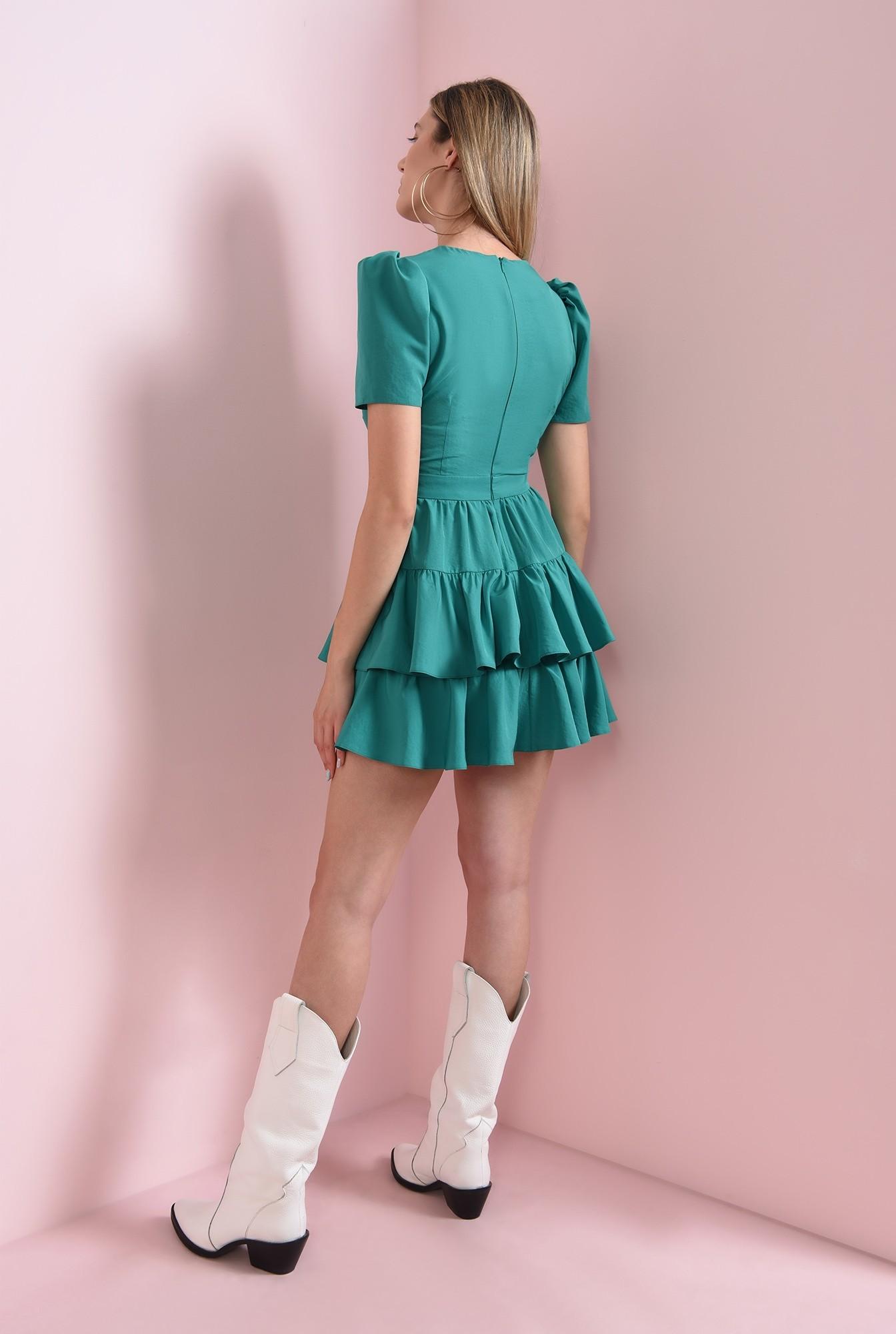 1 - rochie cu volane, verde, Poema