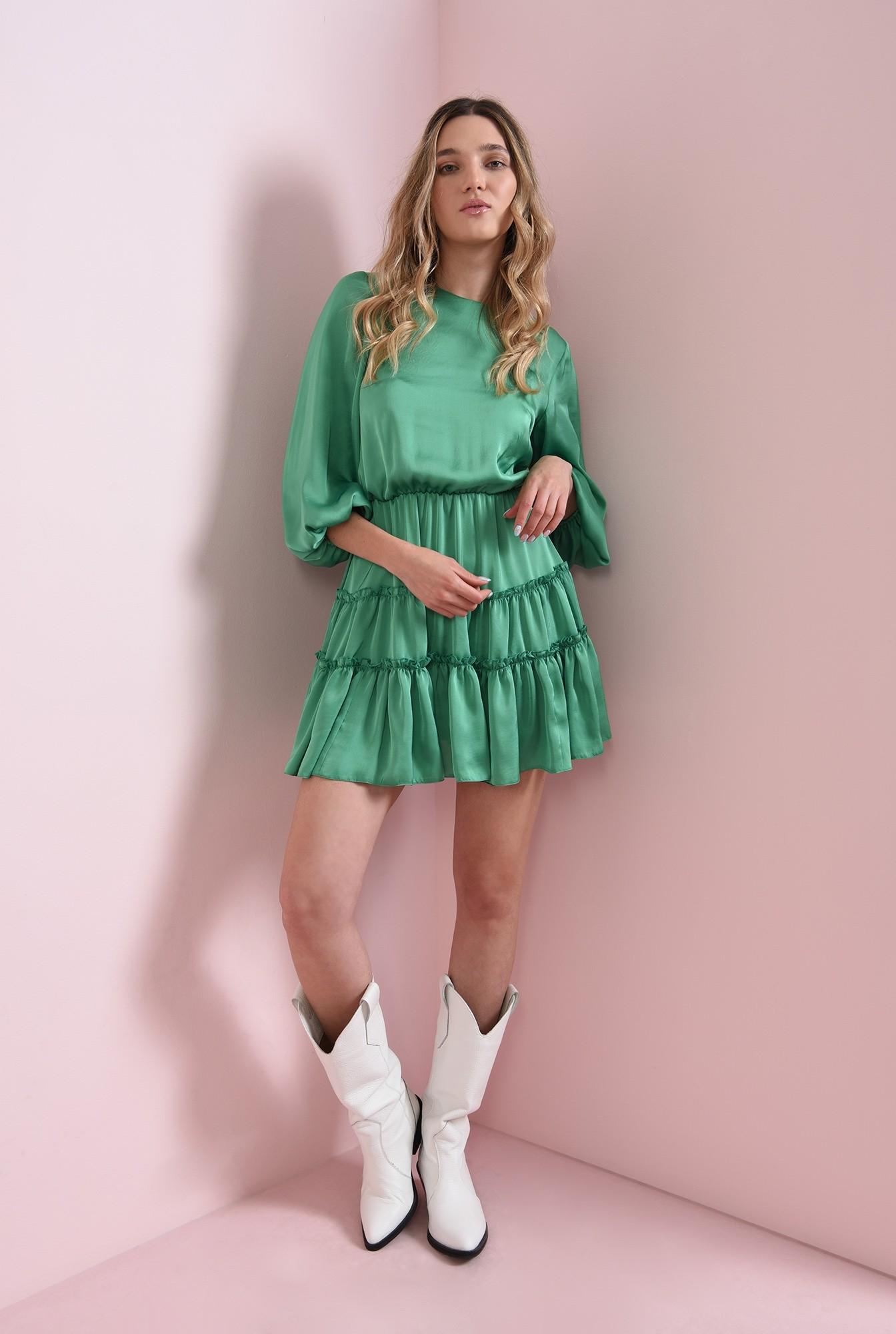 0 - rochie verde, scurta, din satin