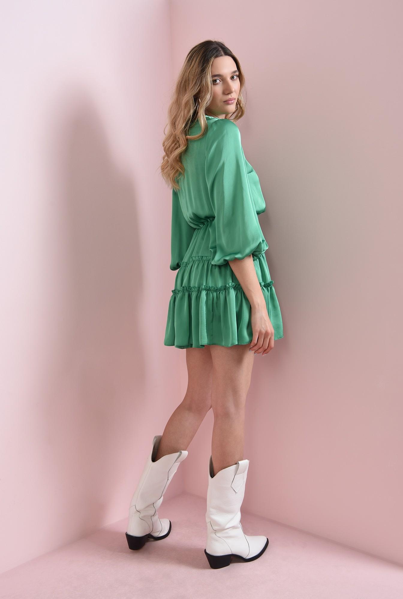 1 - rochie verde, scurta, din satin