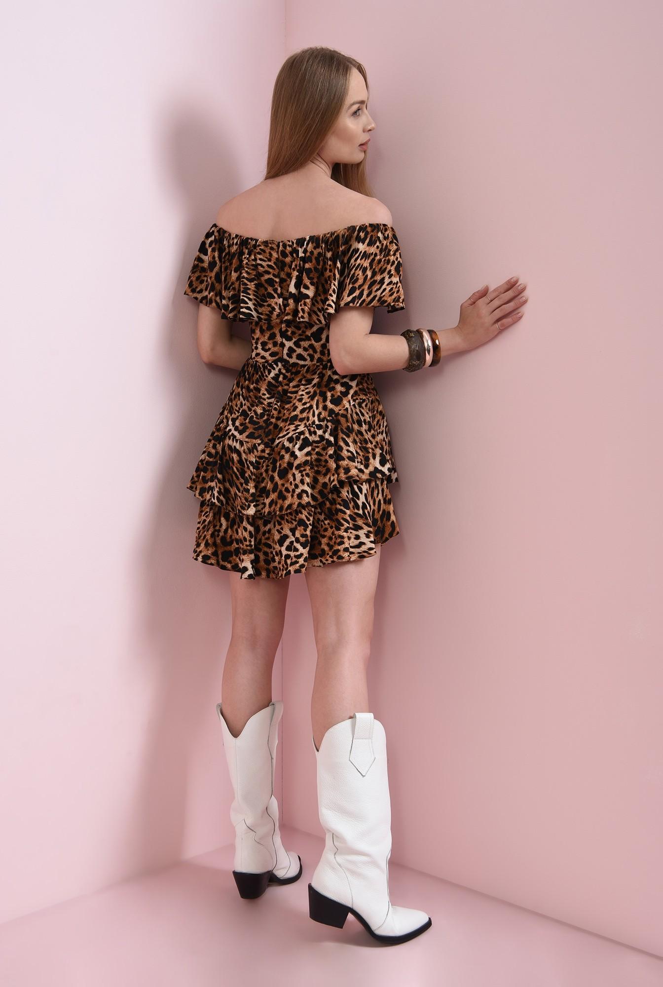 1 - rochie scurta, maro, cu print
