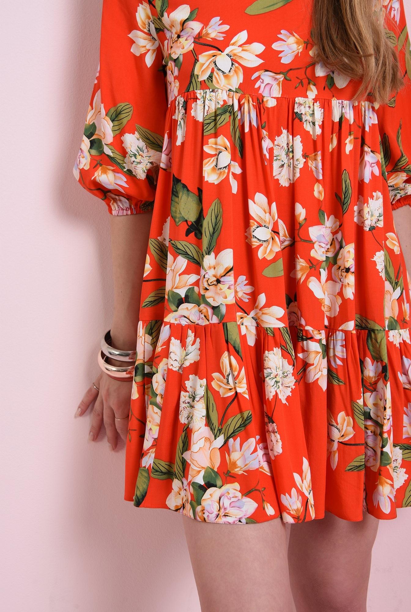 2 - rochie rosie, scurta, cu print