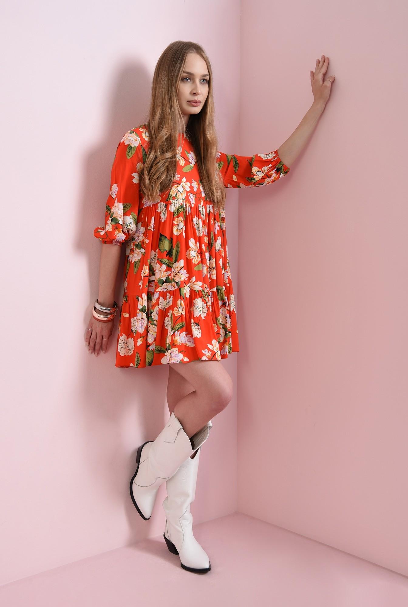 1 - rochie rosie, scurta, cu print