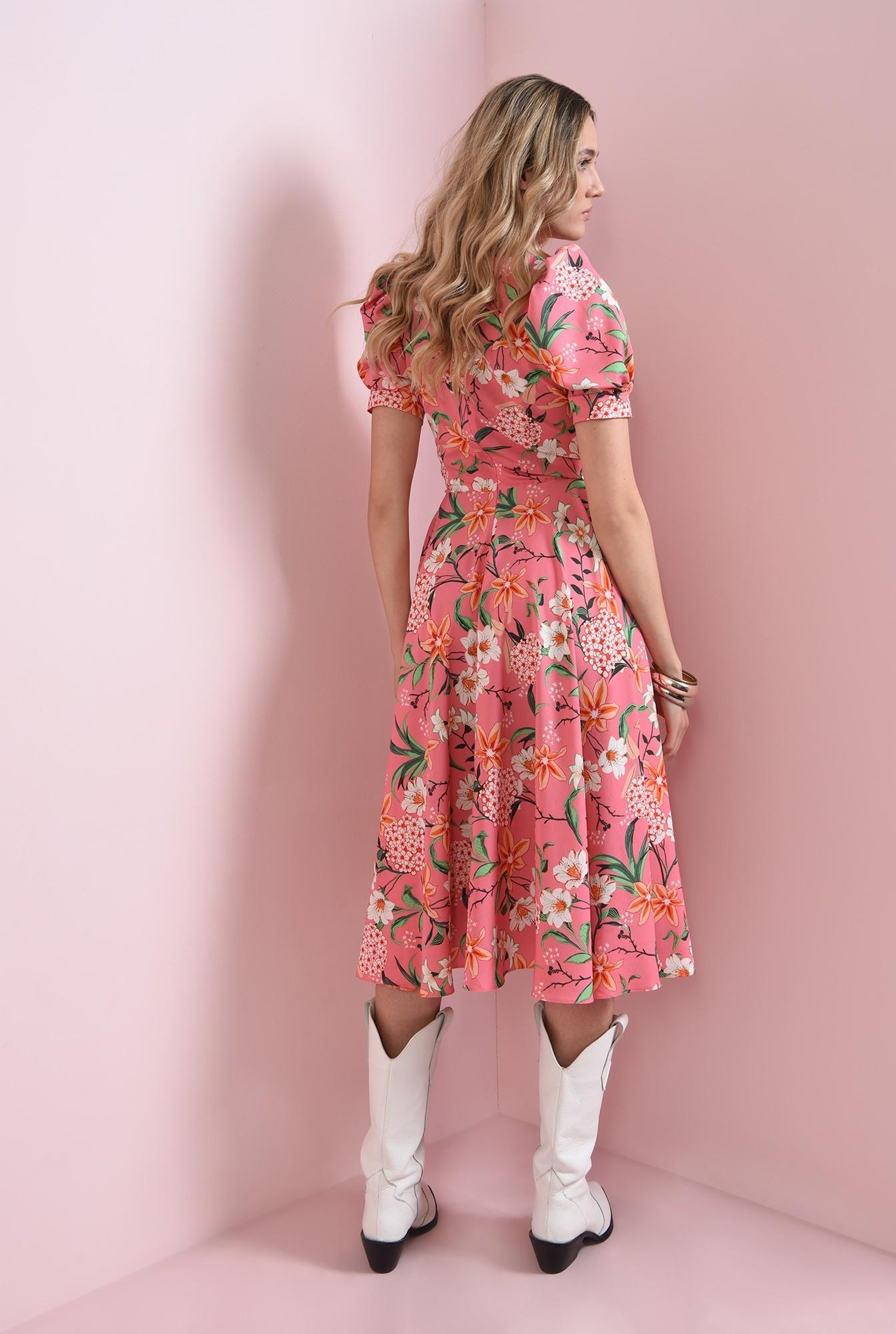 1 - rochie cu maneca scurta, cu flori