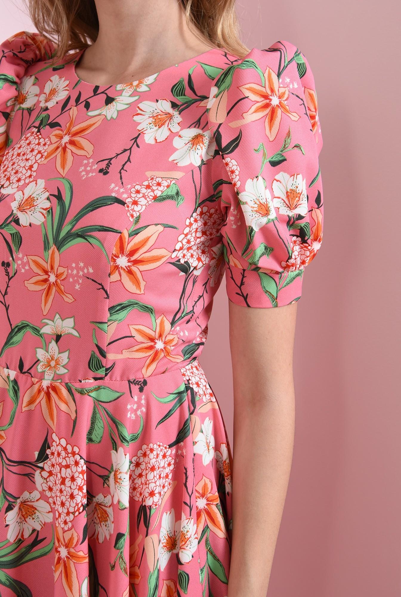 2 - rochie cu maneca scurta, cu flori