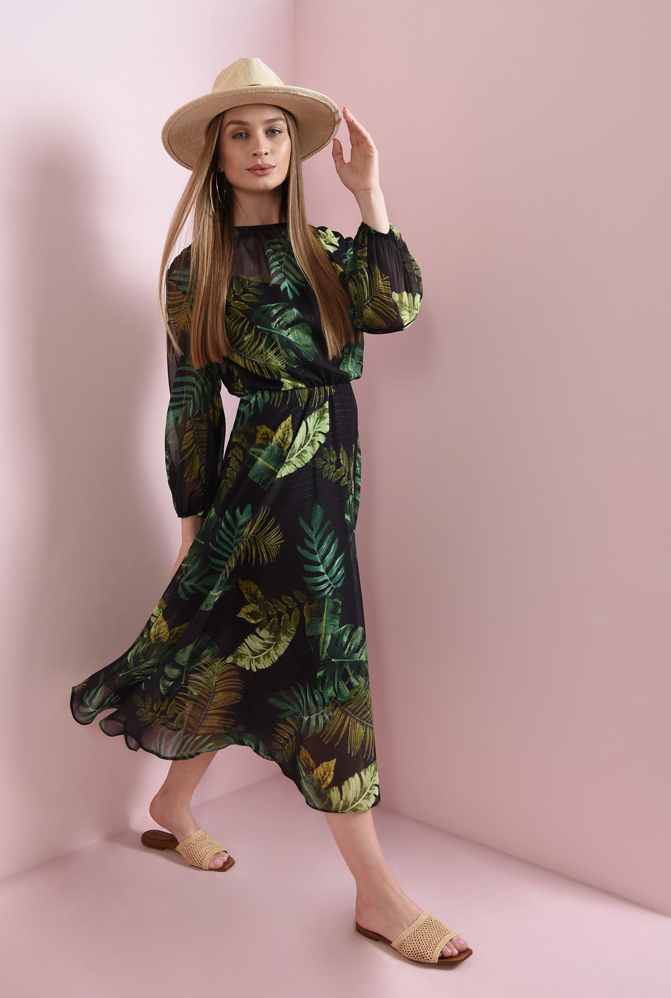 1 - rochie cu imprimeu botanic, evazata