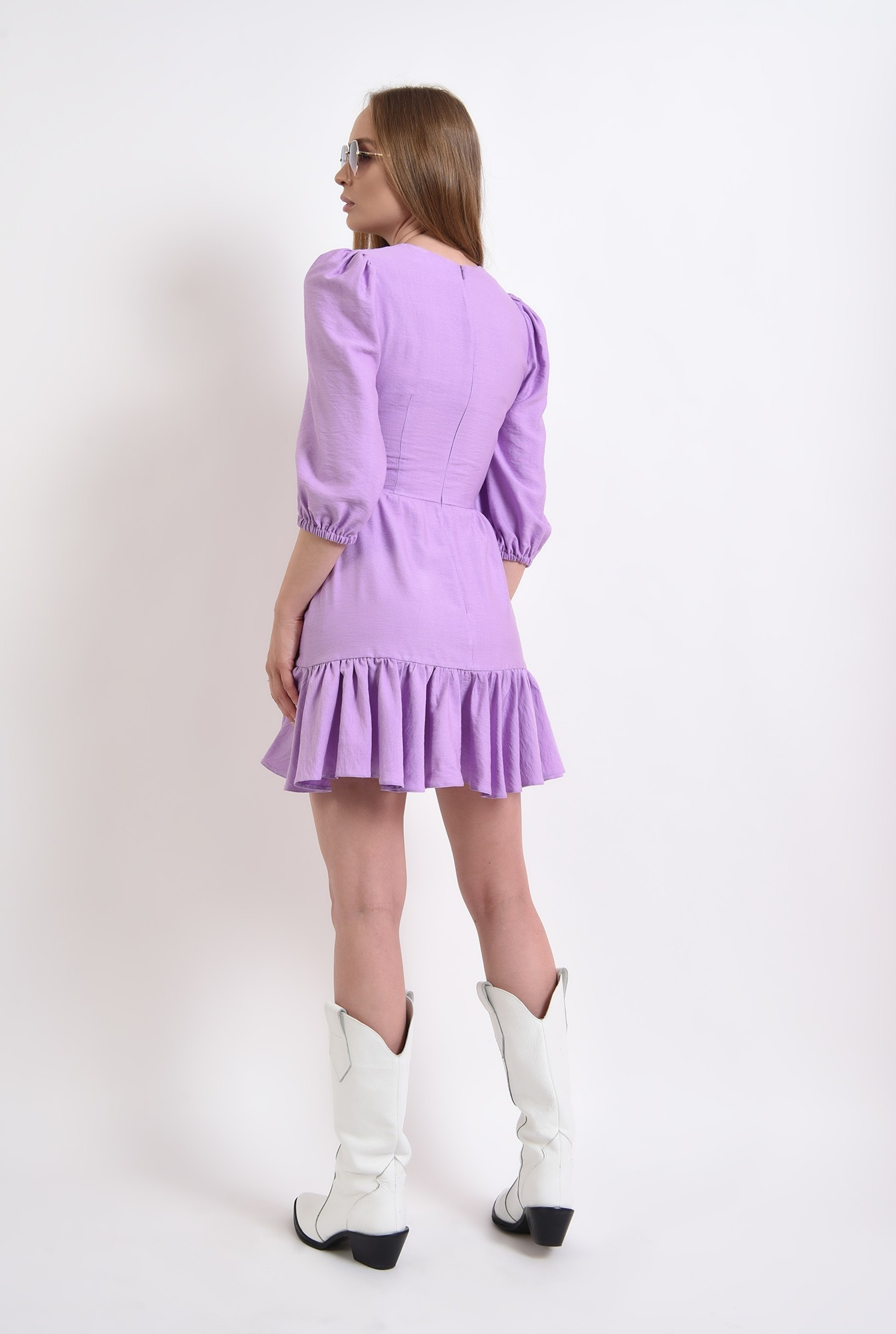 2 - rochie mini, lila, evazata, cu volan