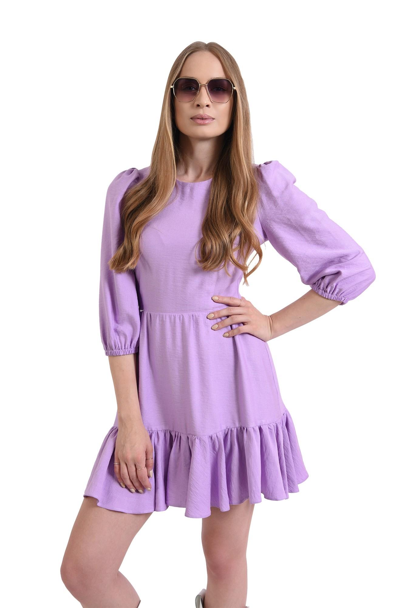 3 - rochie mini, lila, evazata, cu volan
