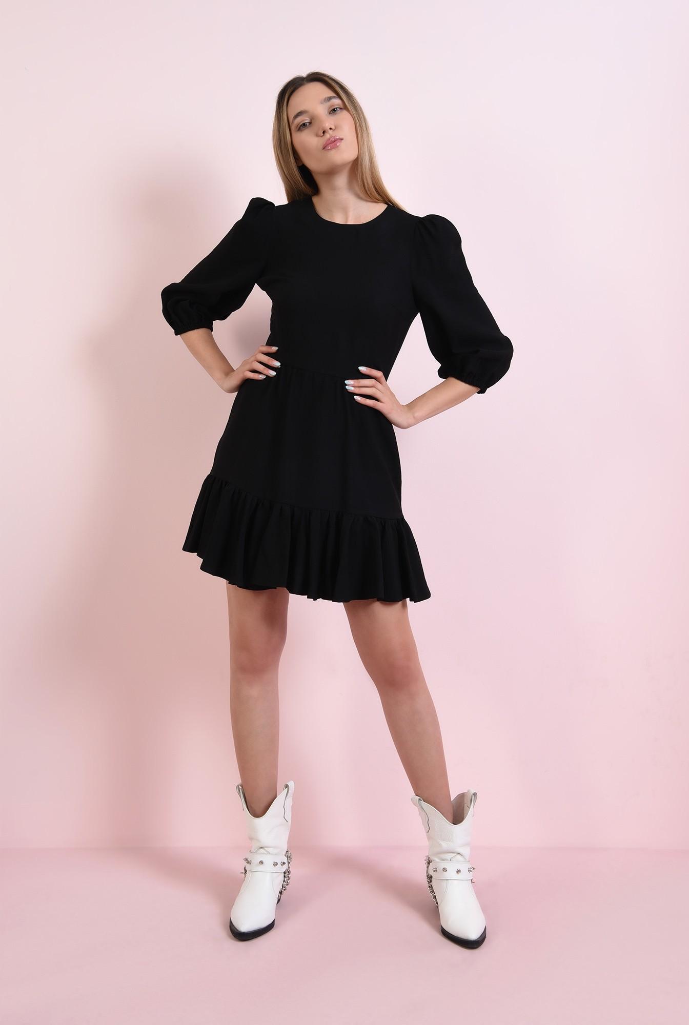 1 - rochie mini, neagra, cu maneca lunga