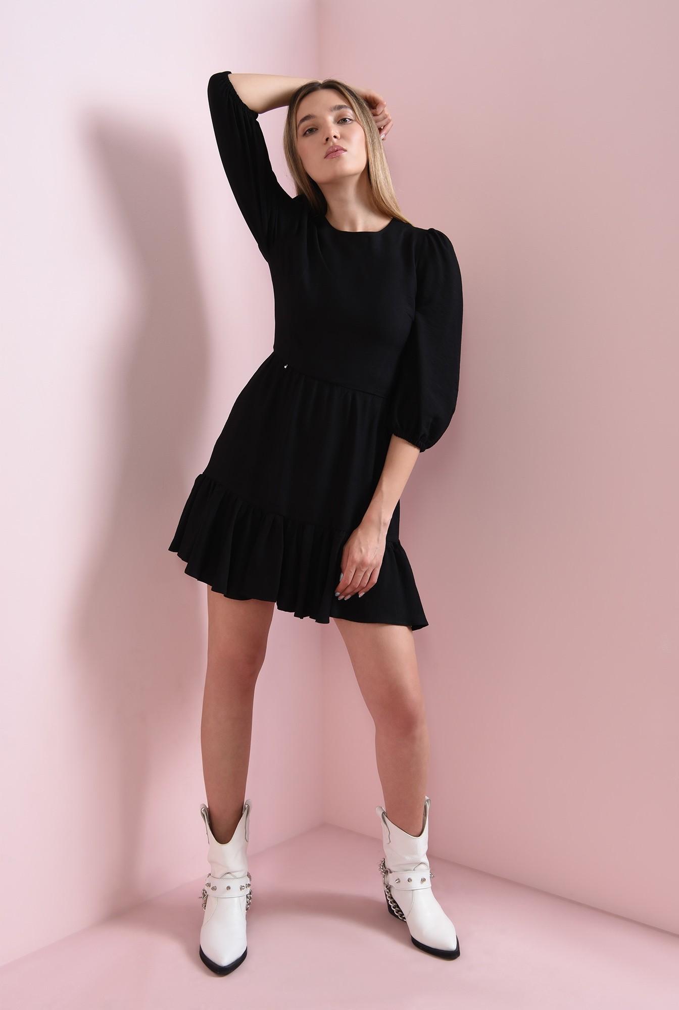 0 - rochie mini, neagra, cu maneca lunga