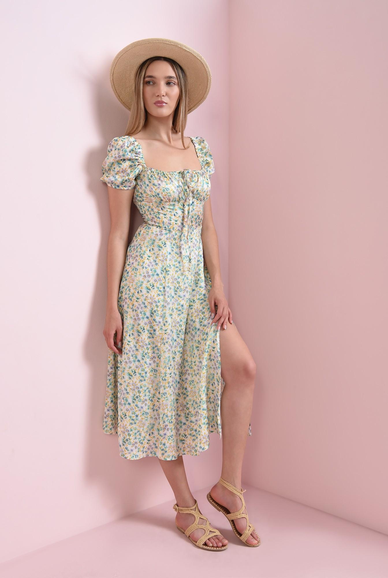 1 - rochie cu print floral, cu maneca scurta