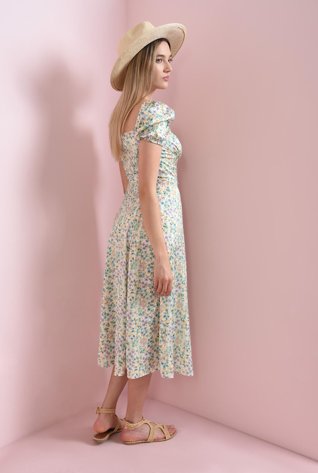 2 - rochie cu print floral, cu maneca scurta
