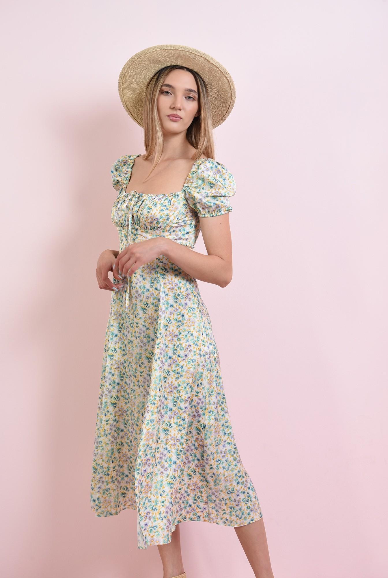 0 - rochie cu print floral, cu maneca scurta