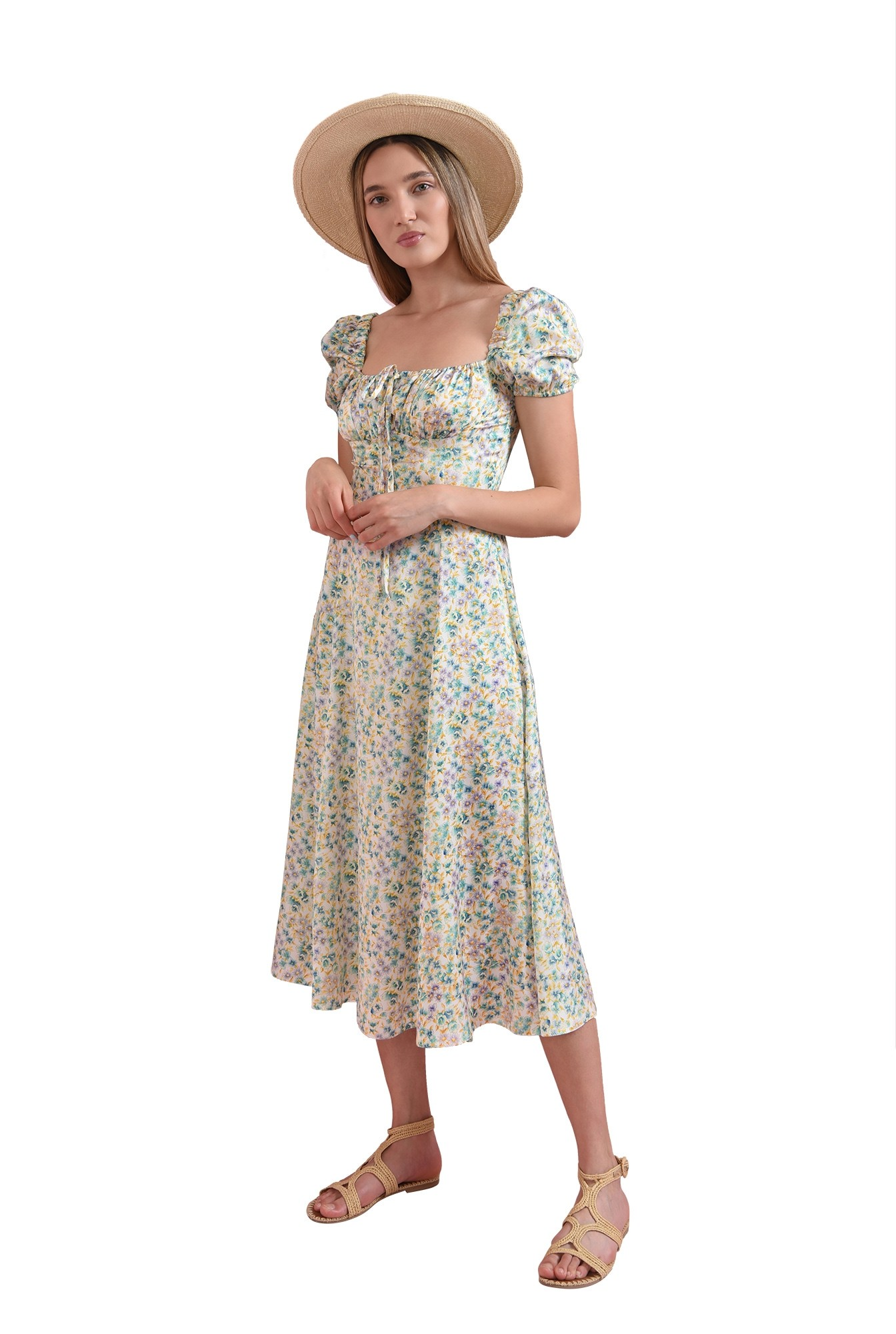 3 - rochie cu print floral, cu maneca scurta