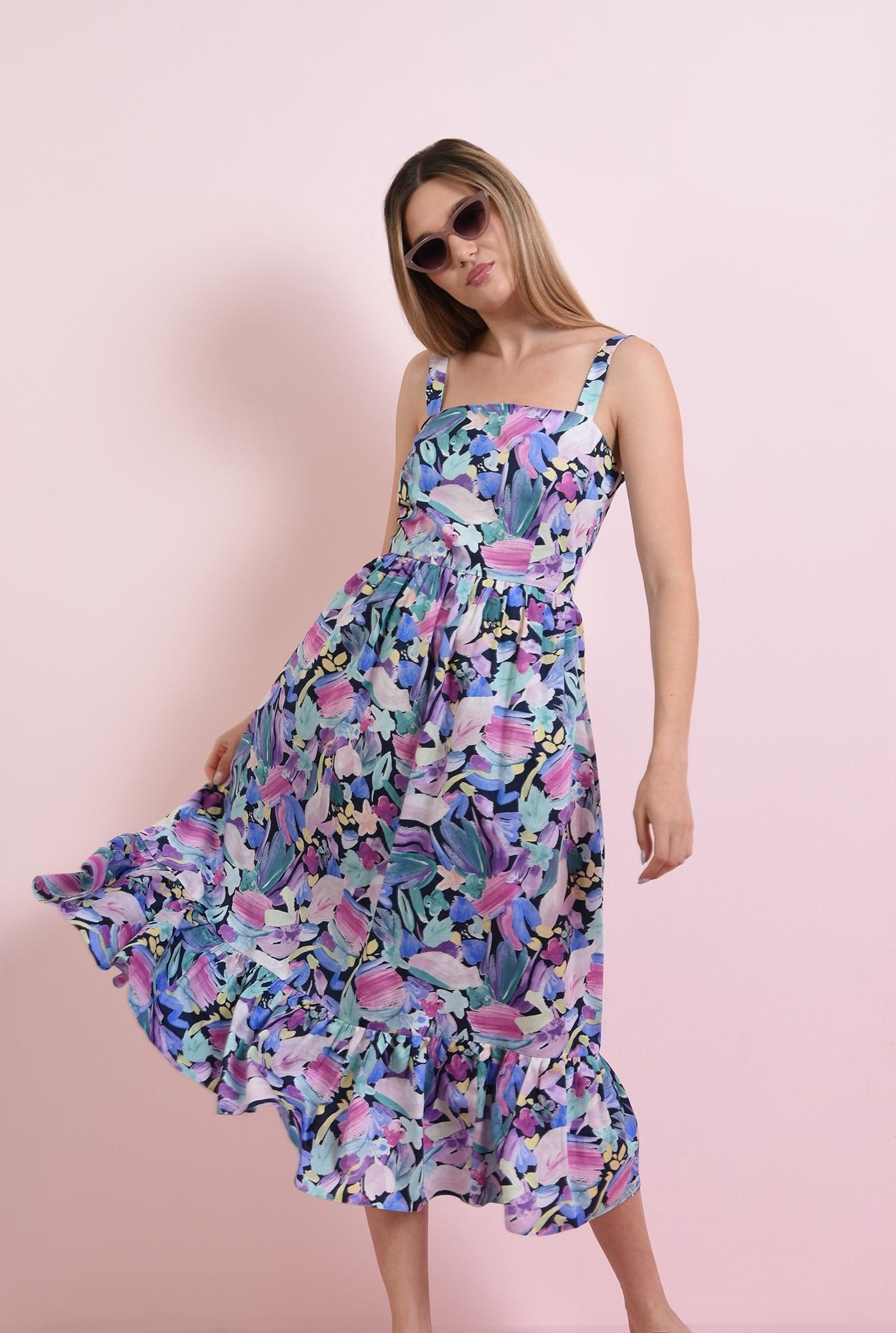 1 - rochie cu imprimeu multicolor, cu bretele