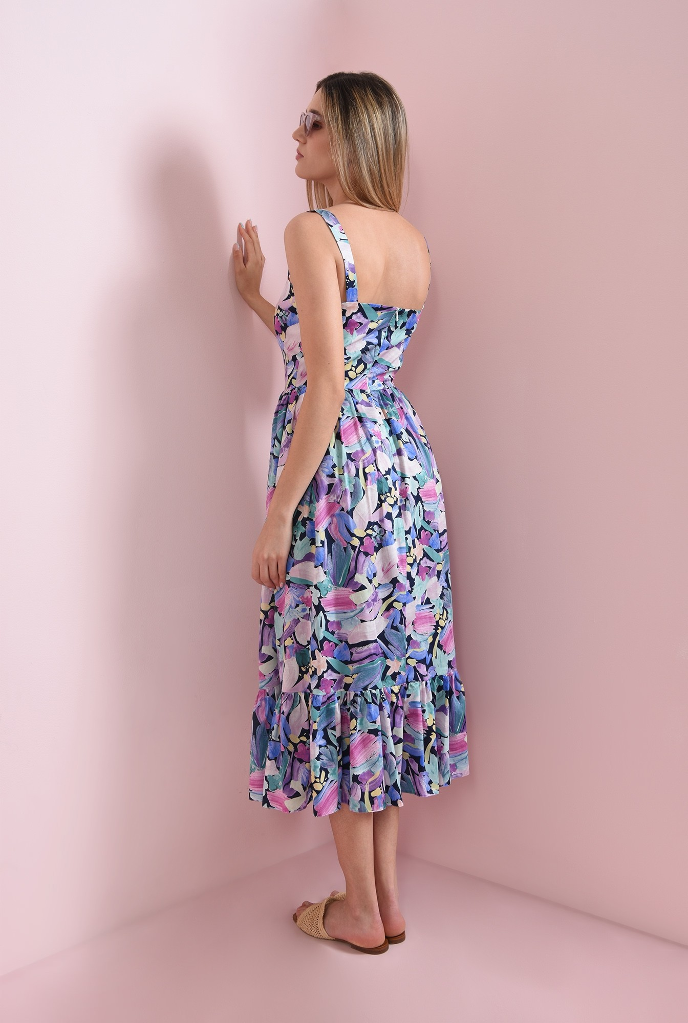 2 - rochie cu imprimeu multicolor, cu bretele