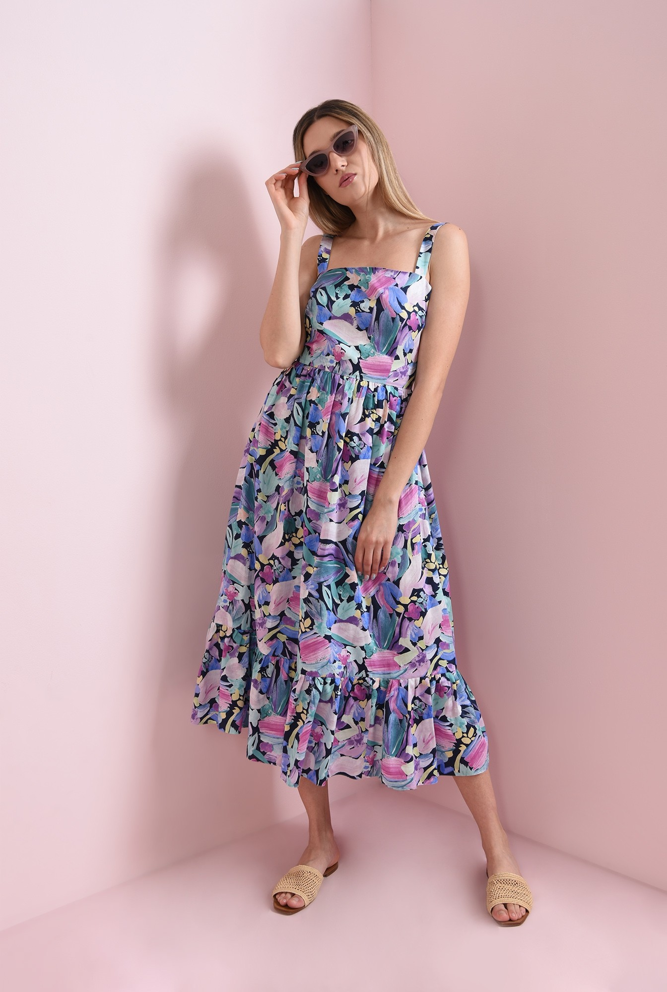 0 - rochie cu imprimeu multicolor, cu bretele