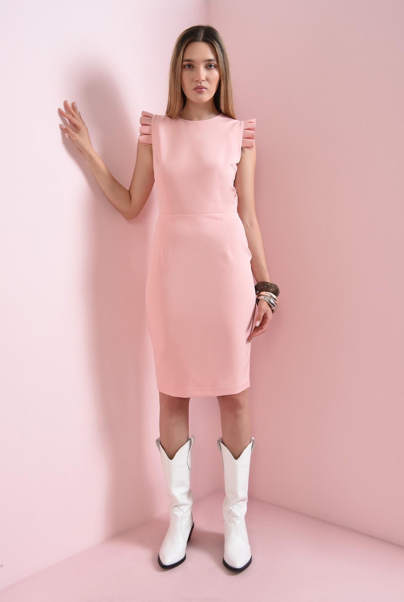 1 - rochie roz, cu volane plisate, Poema