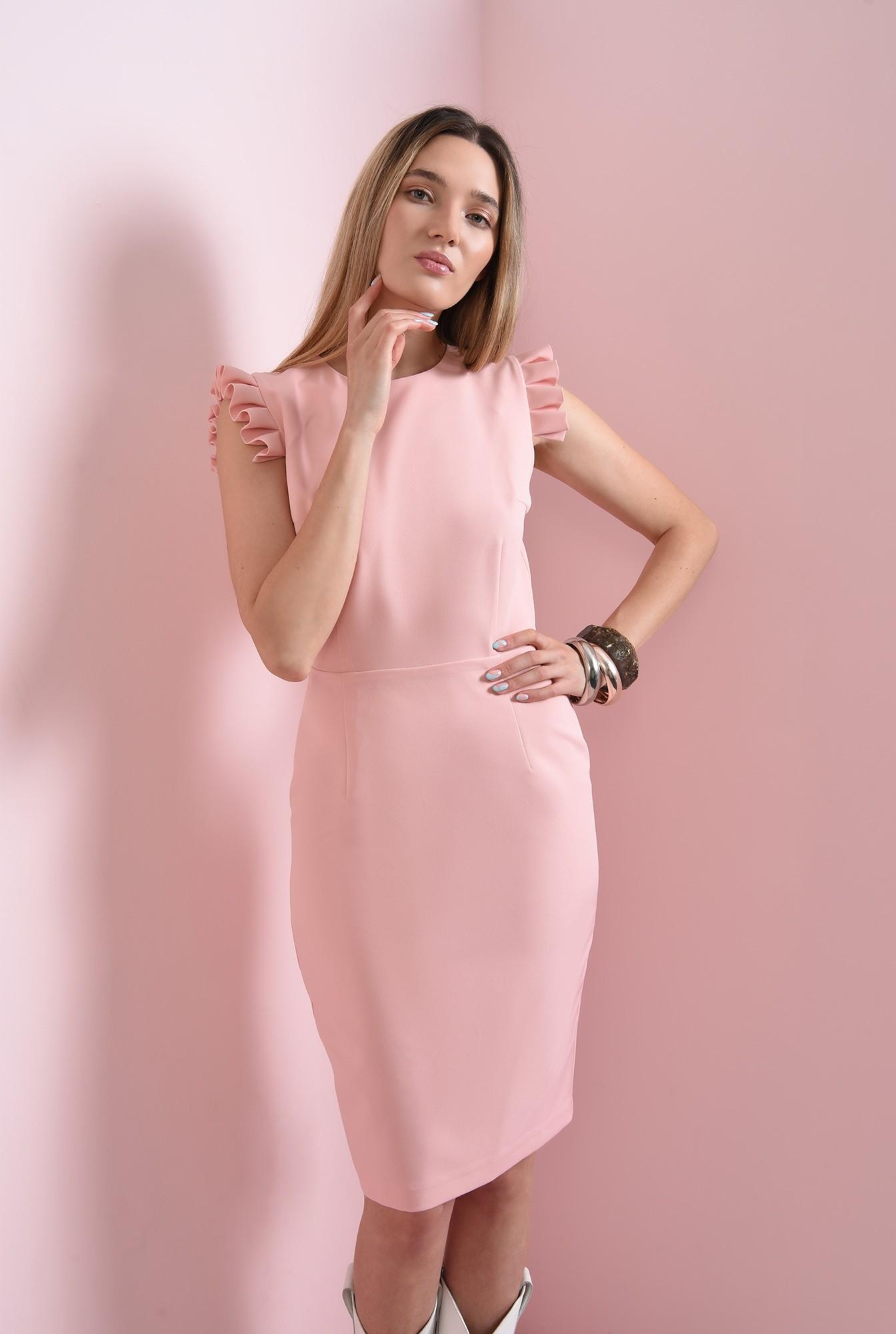 0 - rochie roz, cu volane plisate, Poema