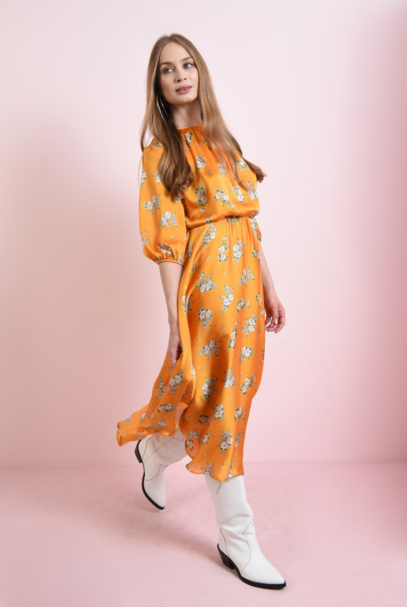 1 - rochie cu flori, mustar, cu maneca lunga