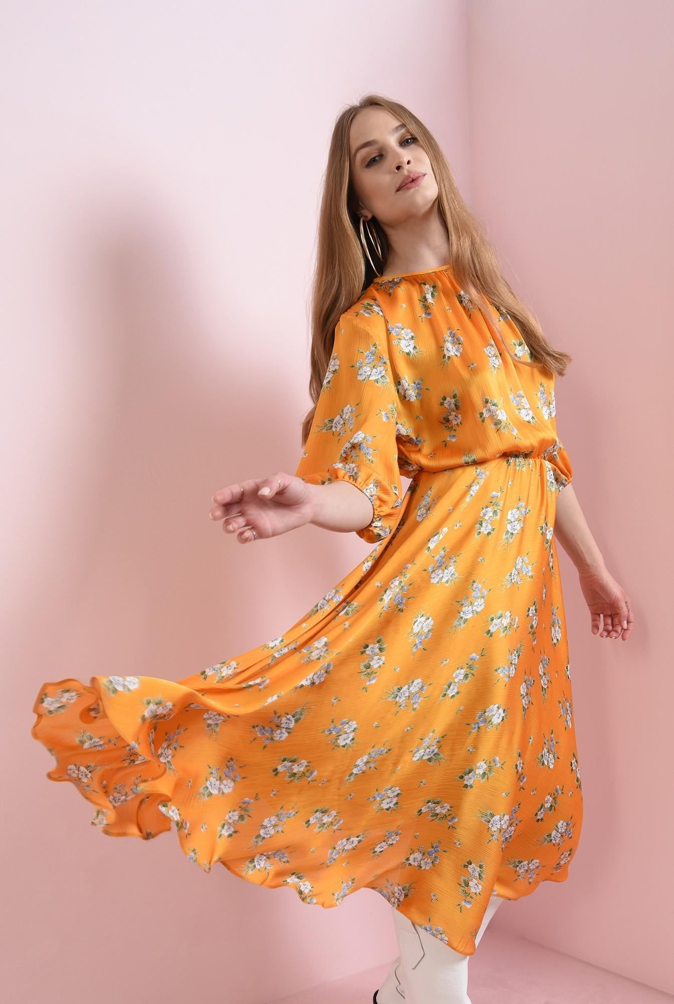2 - rochie cu flori, mustar, cu maneca lunga