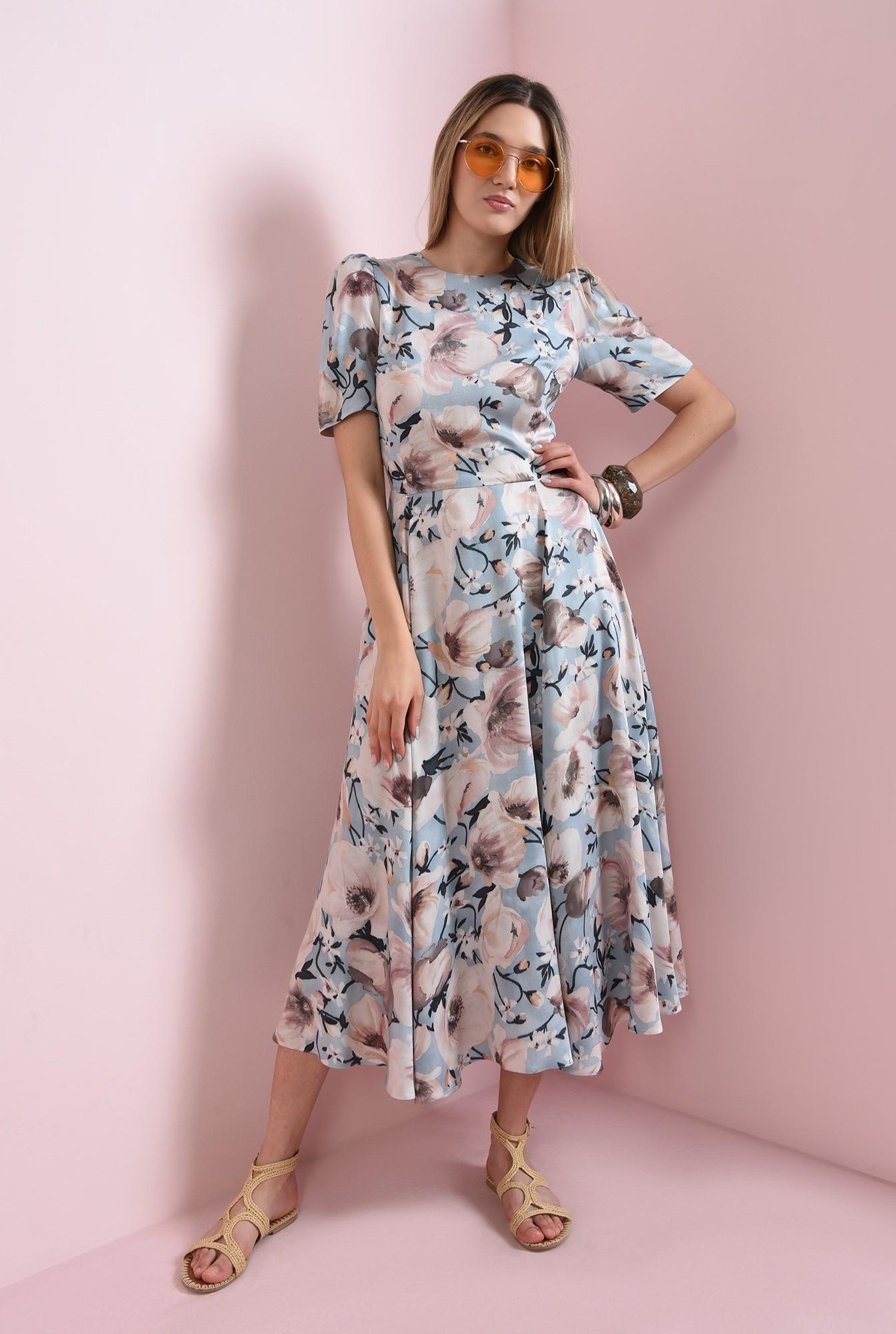 0 - rochie evazata, bleu, cu print, Poema