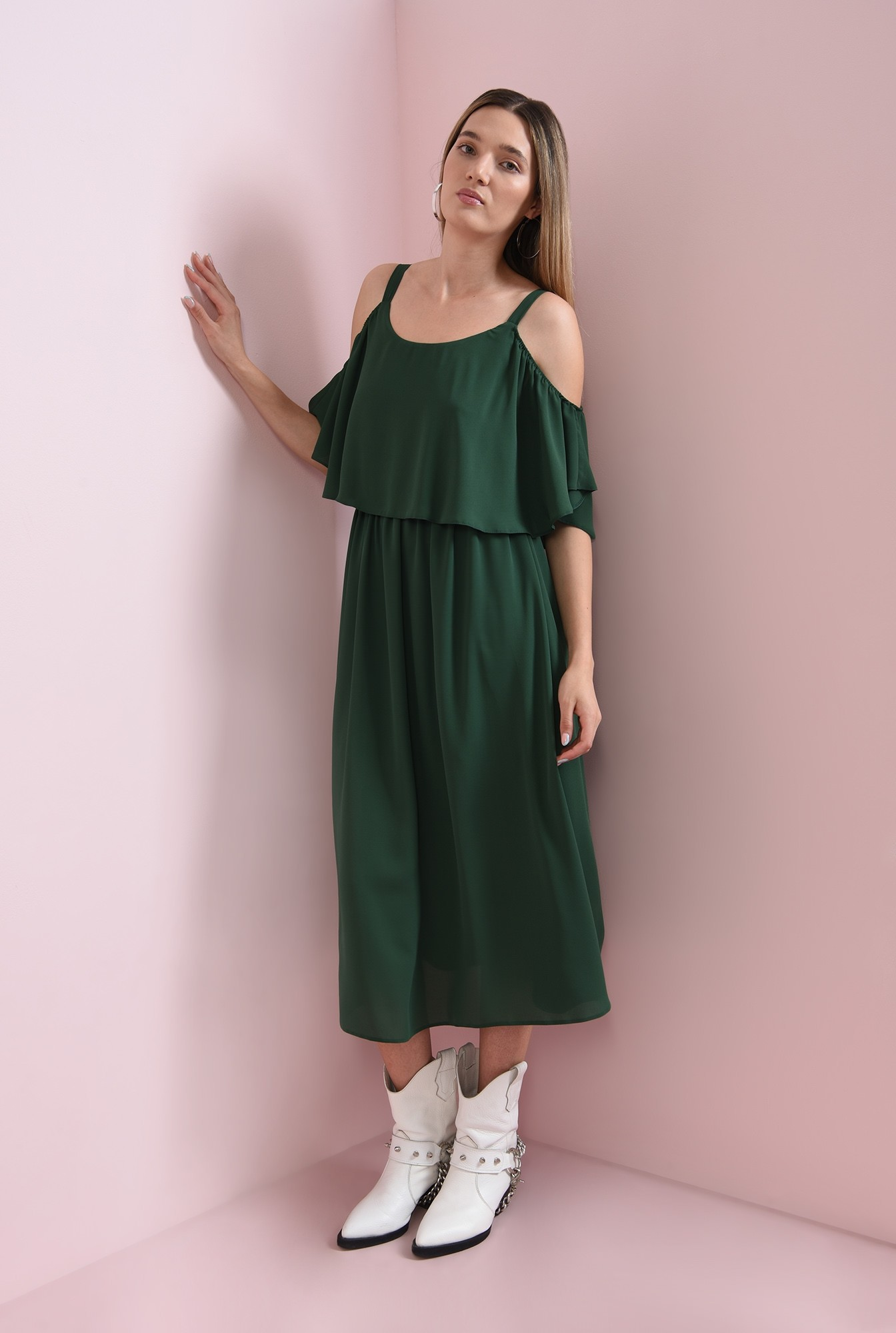 1 - rochie casual, verde, evazata