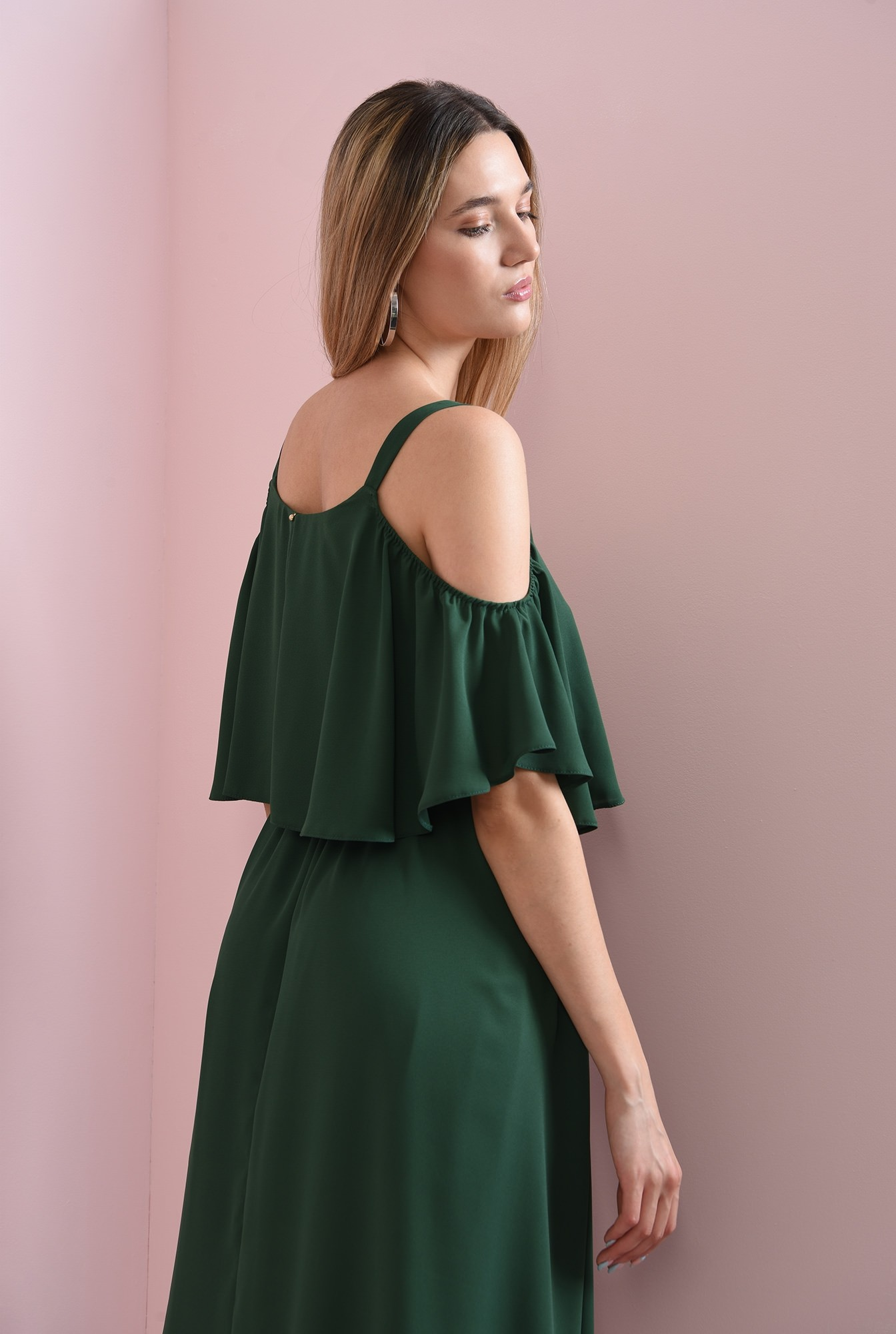 2 - rochie casual, verde, evazata