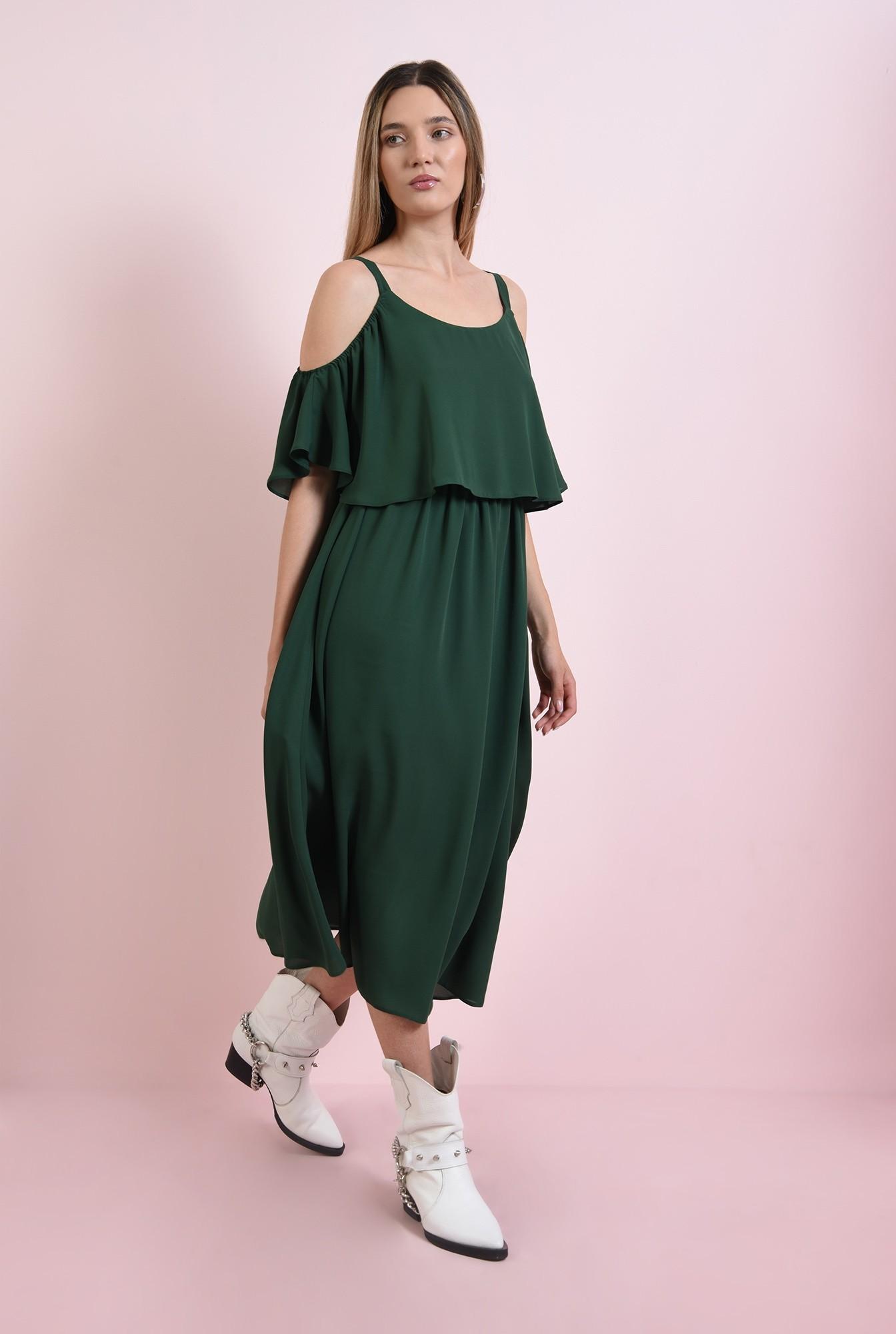 0 - rochie casual, verde, evazata