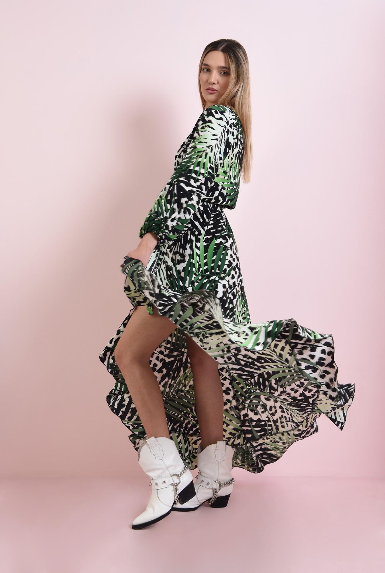 1 - rochie cu imprimeu botanic, cu maneca voluminoasa