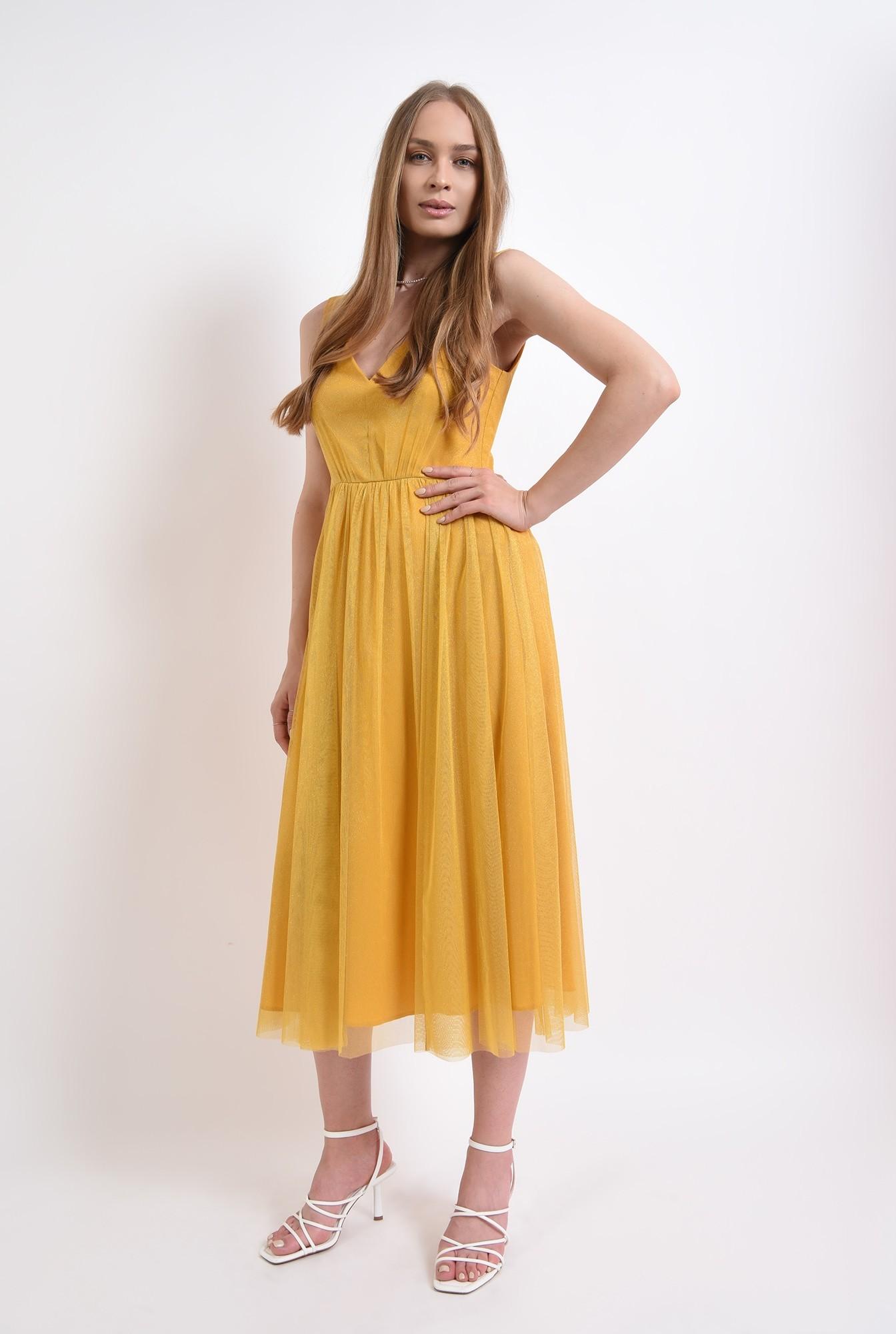 1 - rochie eleganta, mustar, din tul