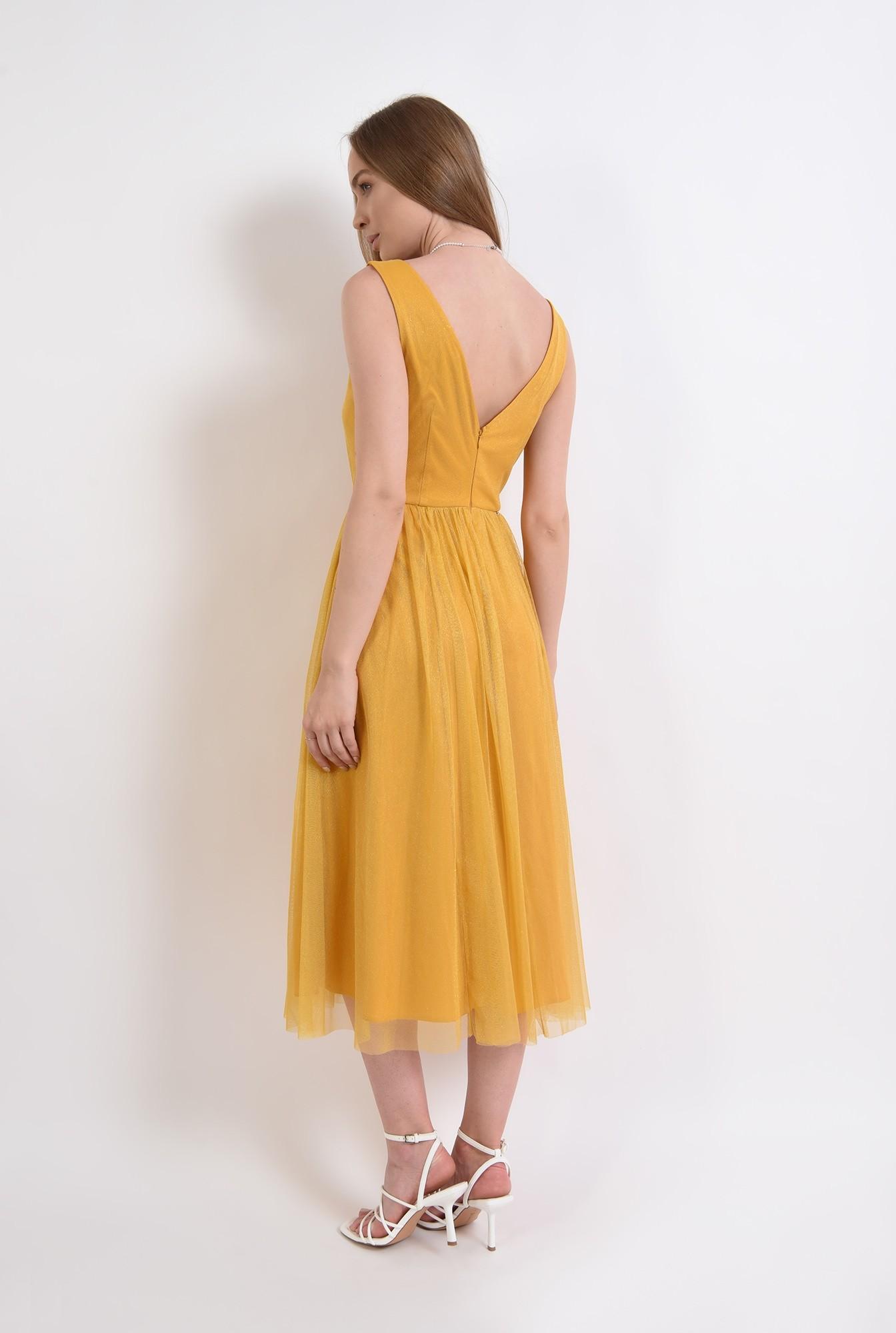 2 - rochie eleganta, mustar, din tul