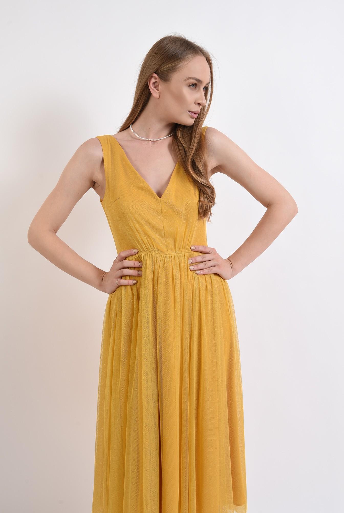 0 - rochie eleganta, mustar, din tul