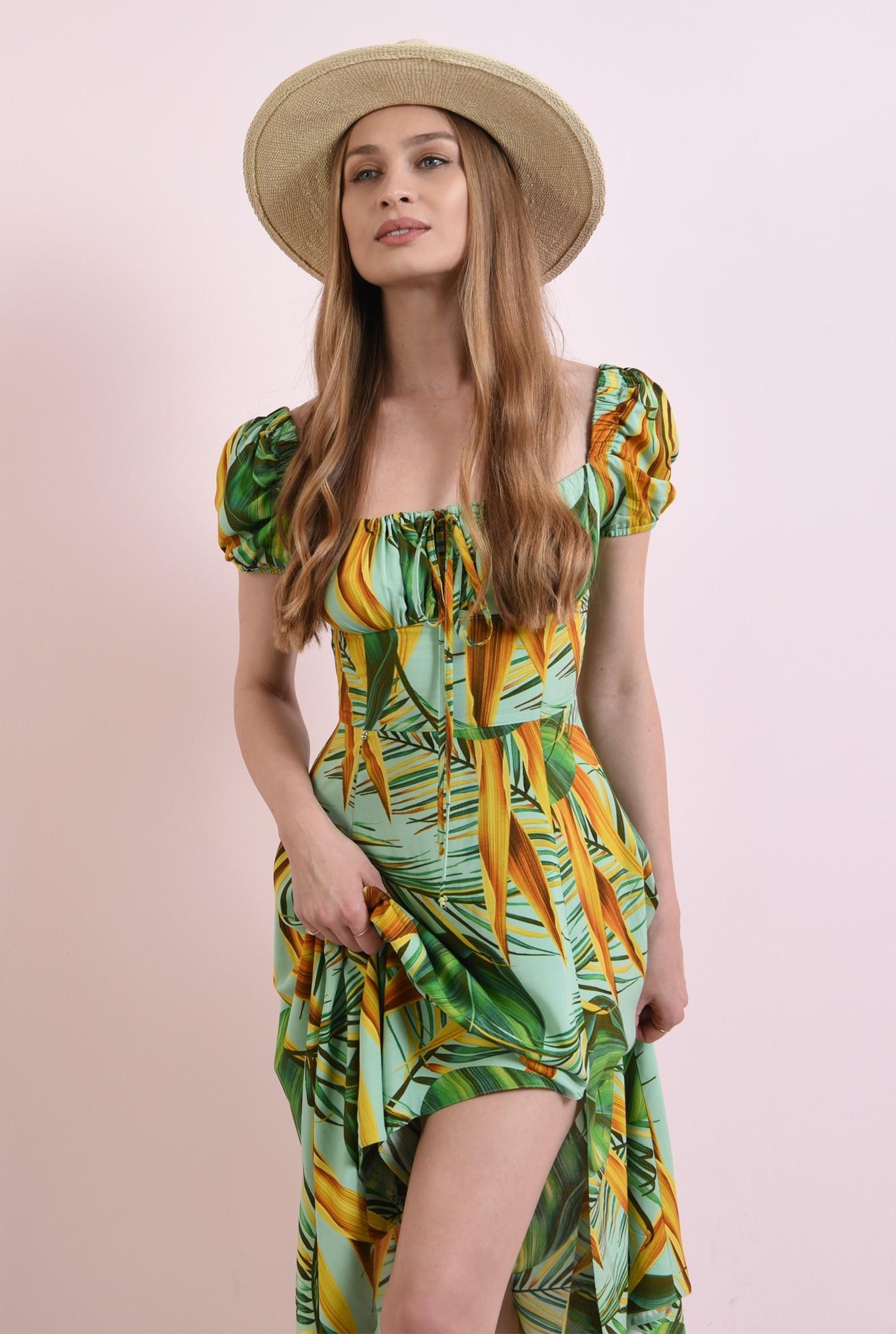 1 - rochie cu imprimeu, cu maneca incretita