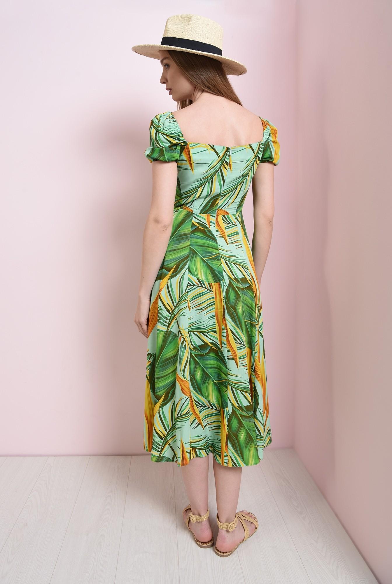 2 - rochie cu imprimeu, cu maneca incretita