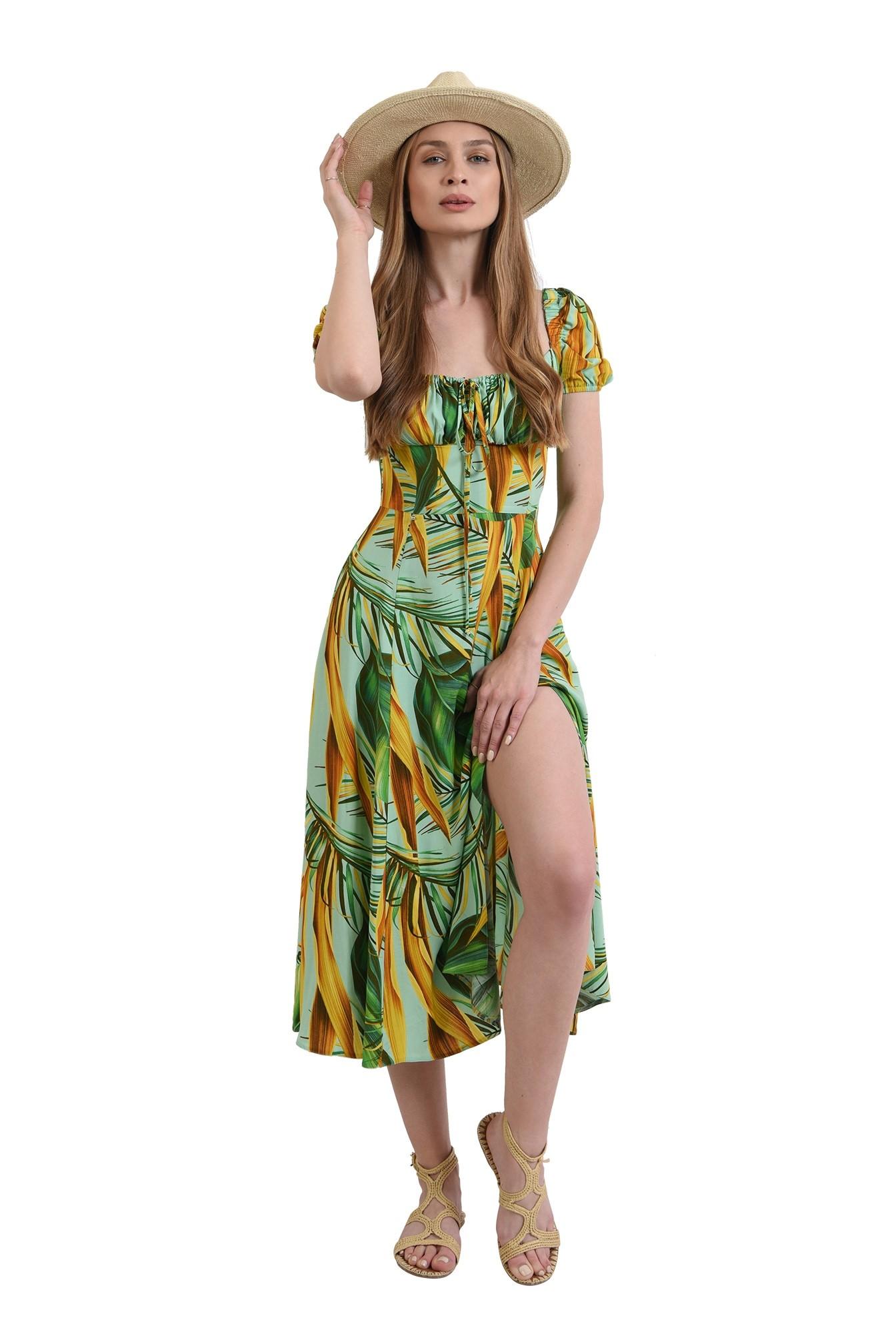 3 - rochie cu imprimeu, cu maneca incretita