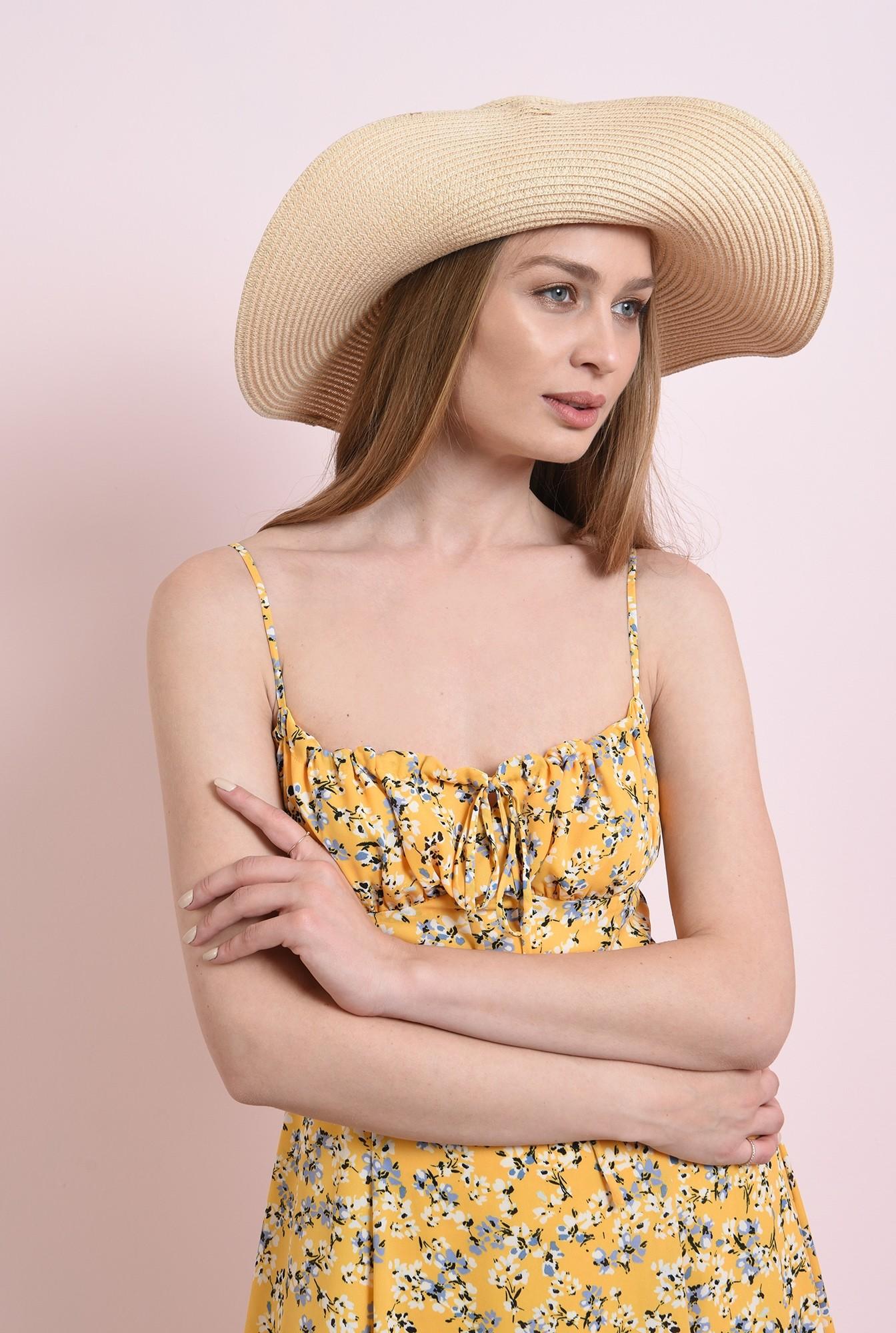 2 - rochie de vara, cu imprimeu, cu decolteu incretit