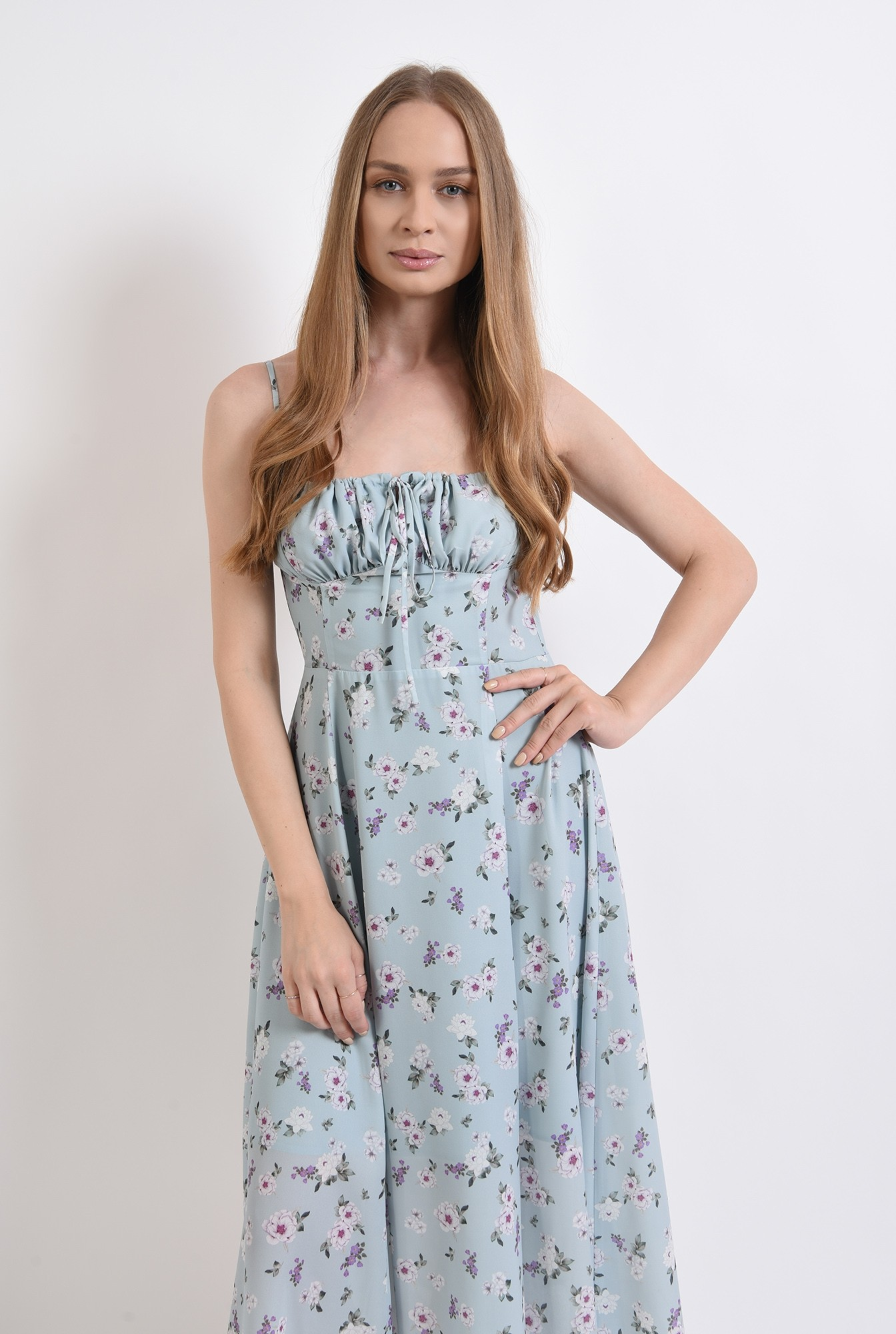 1 - rochie de vara, cu print, cu bretele, Poema