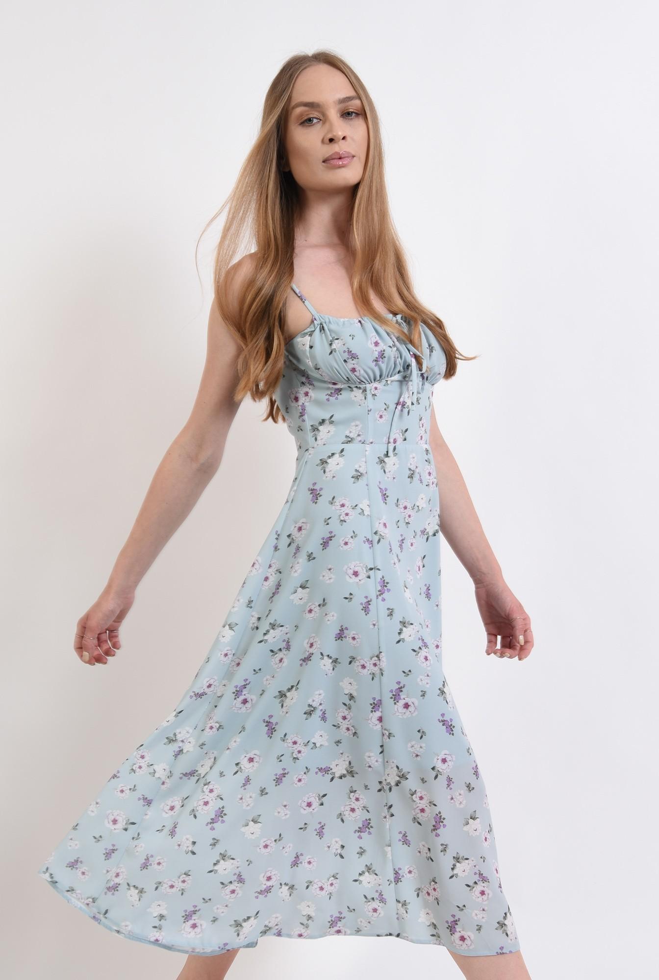 0 - rochie de vara, cu print, cu bretele, Poema