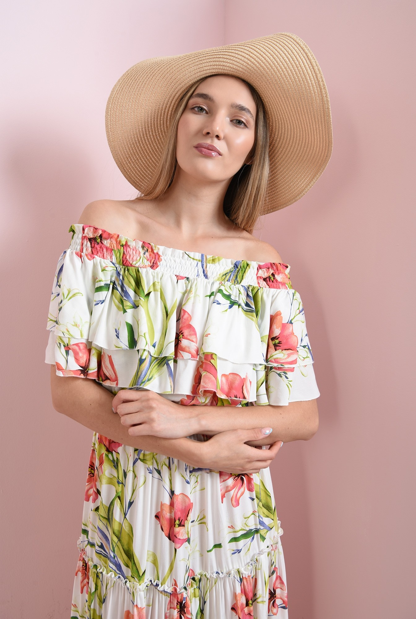 2 - rochie maxi, cu imprimeu floral