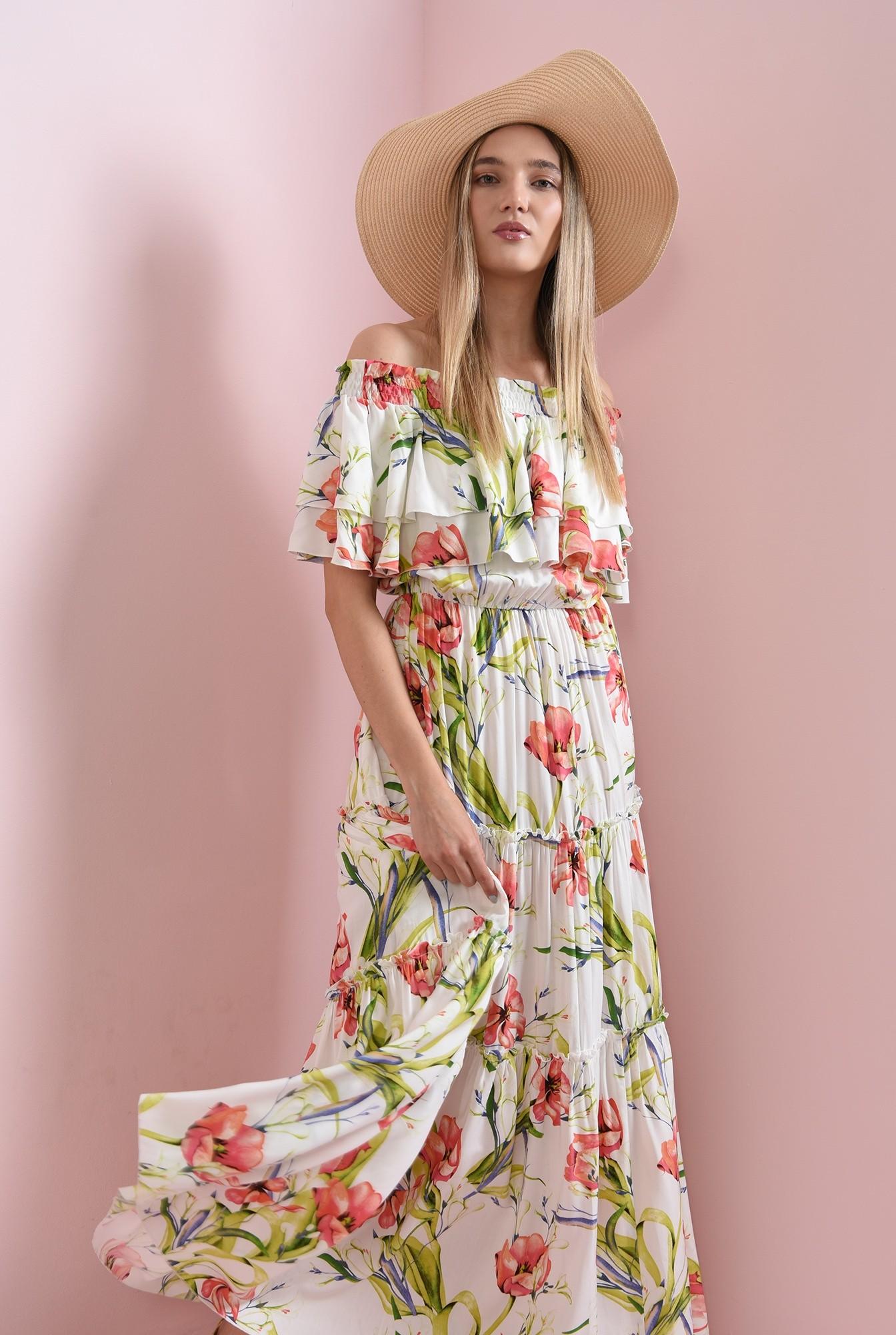 0 - rochie maxi, cu imprimeu floral