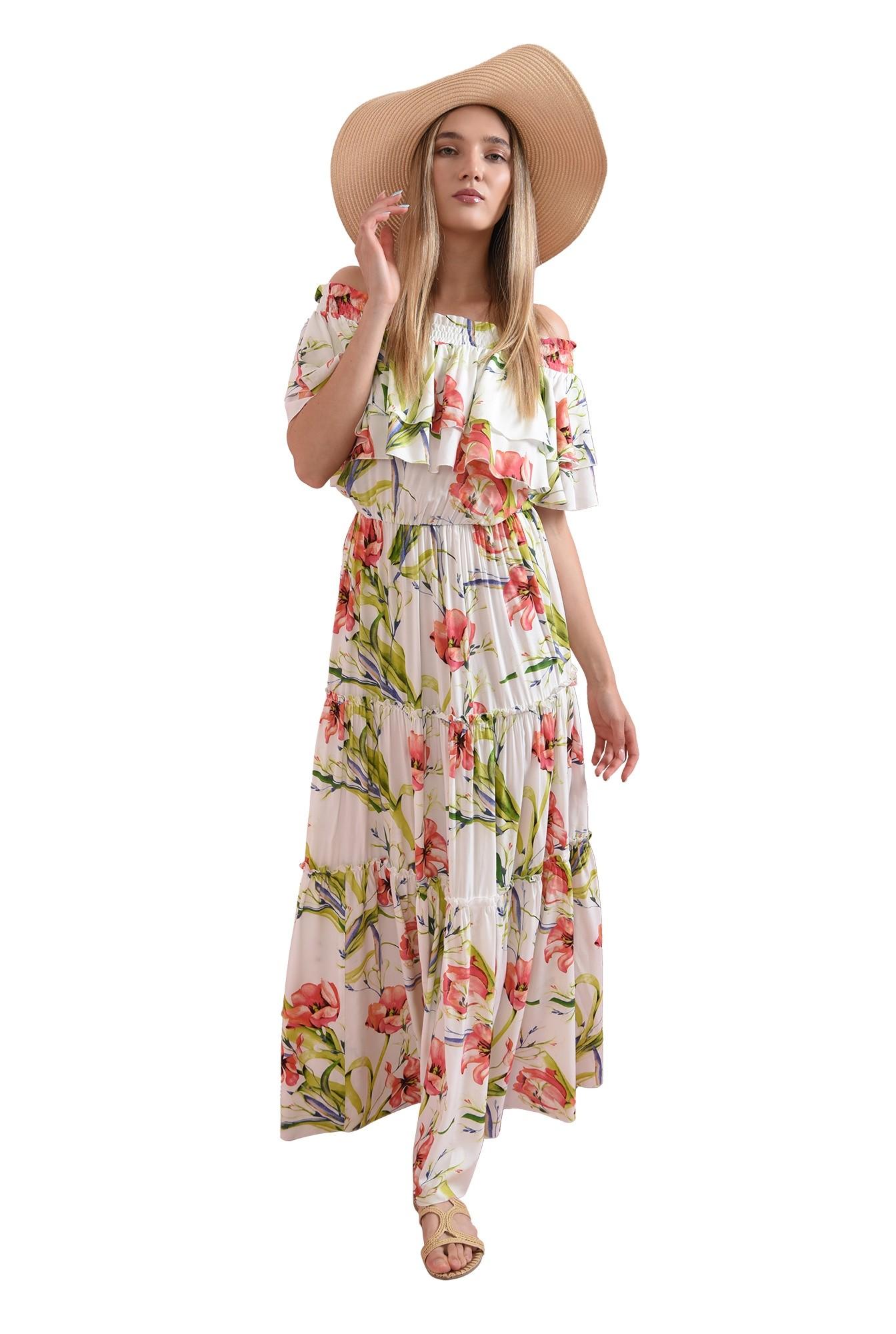 3 - rochie maxi, cu imprimeu floral