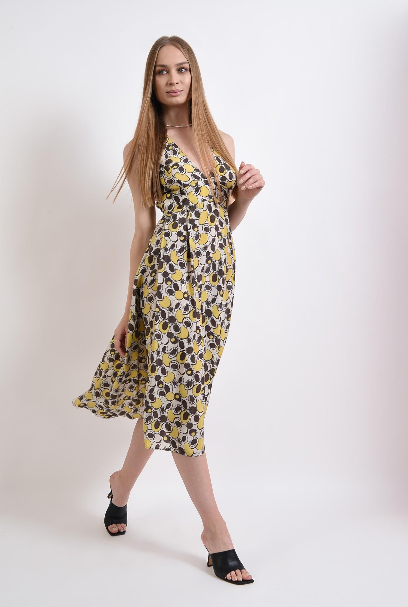 0 - rochie casual, cu print, evazata, Poema