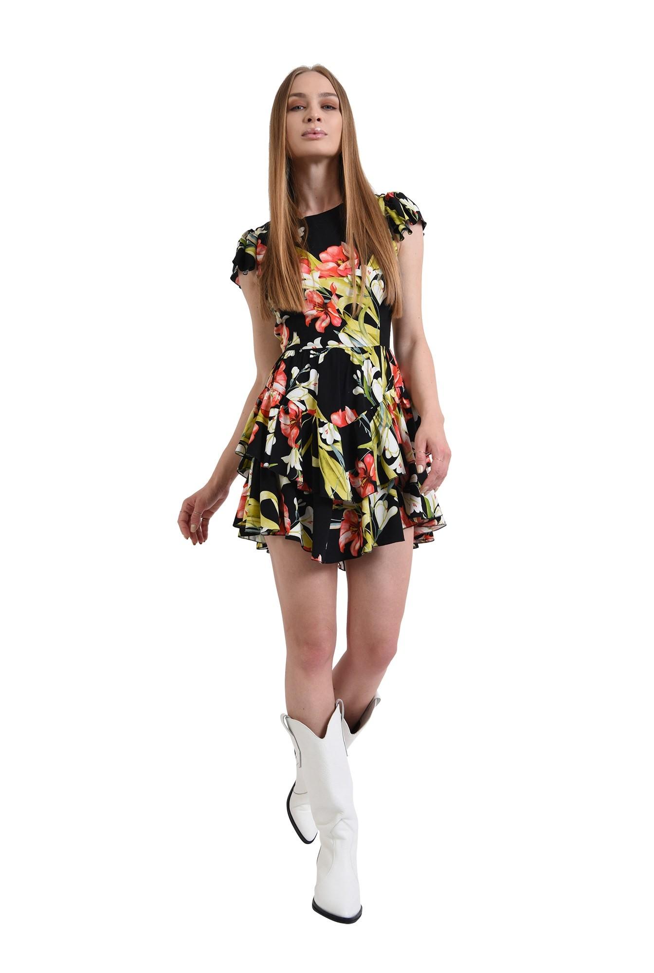 3 - rochie cu imprimeu floral, cu maneca scurta