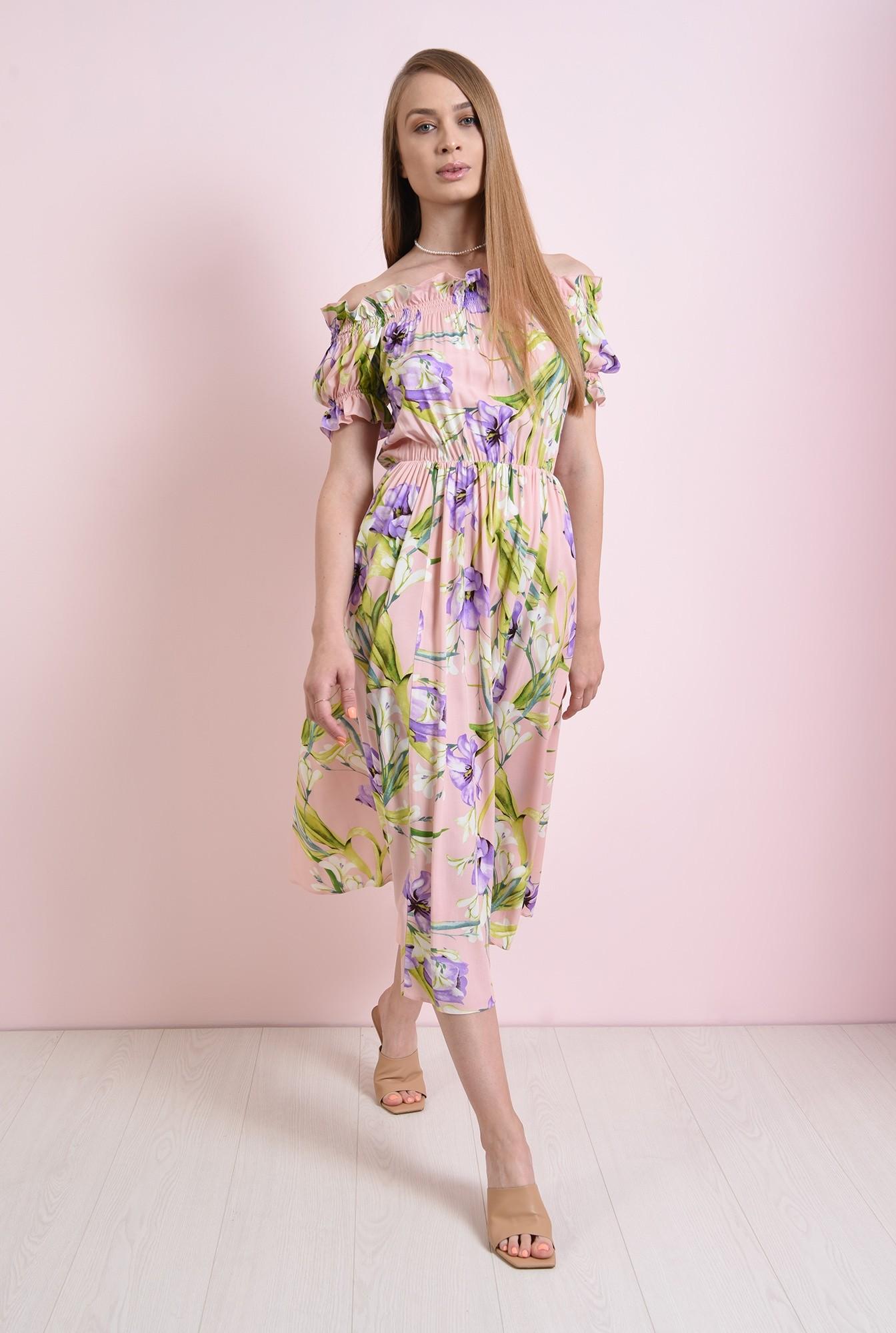 0 - rochie cu print, cu maneca scurta