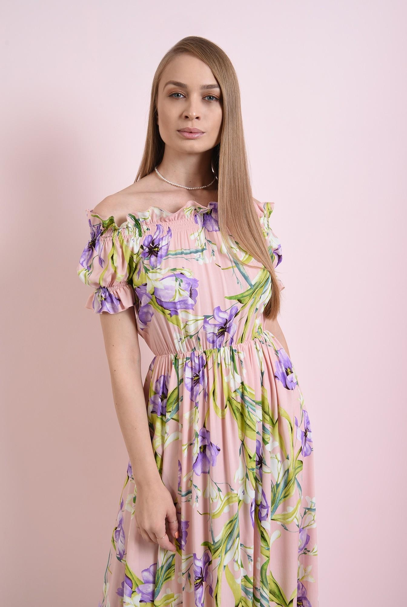2 - rochie cu print, cu maneca scurta