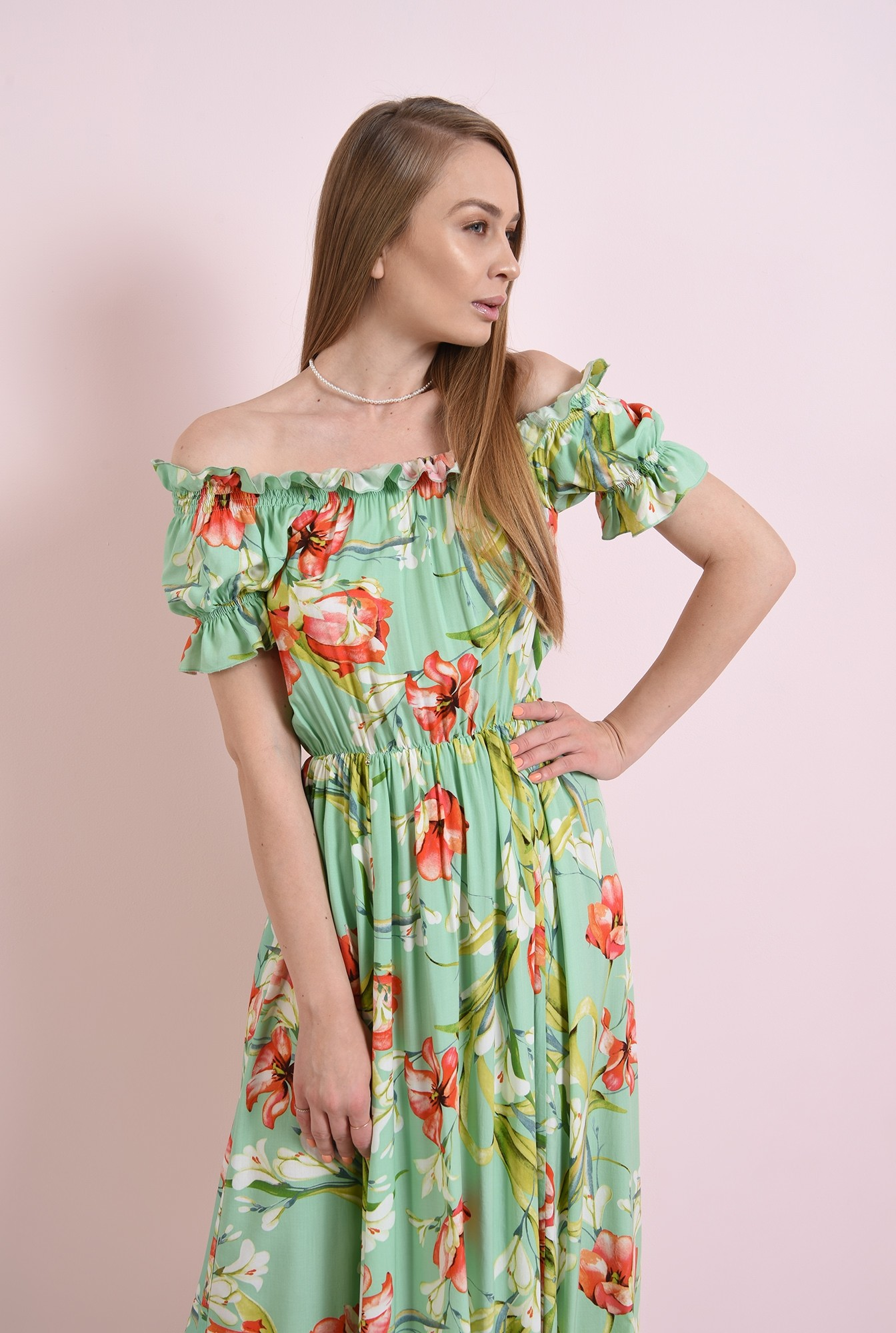 2 - rochie casual, de vara, cu print