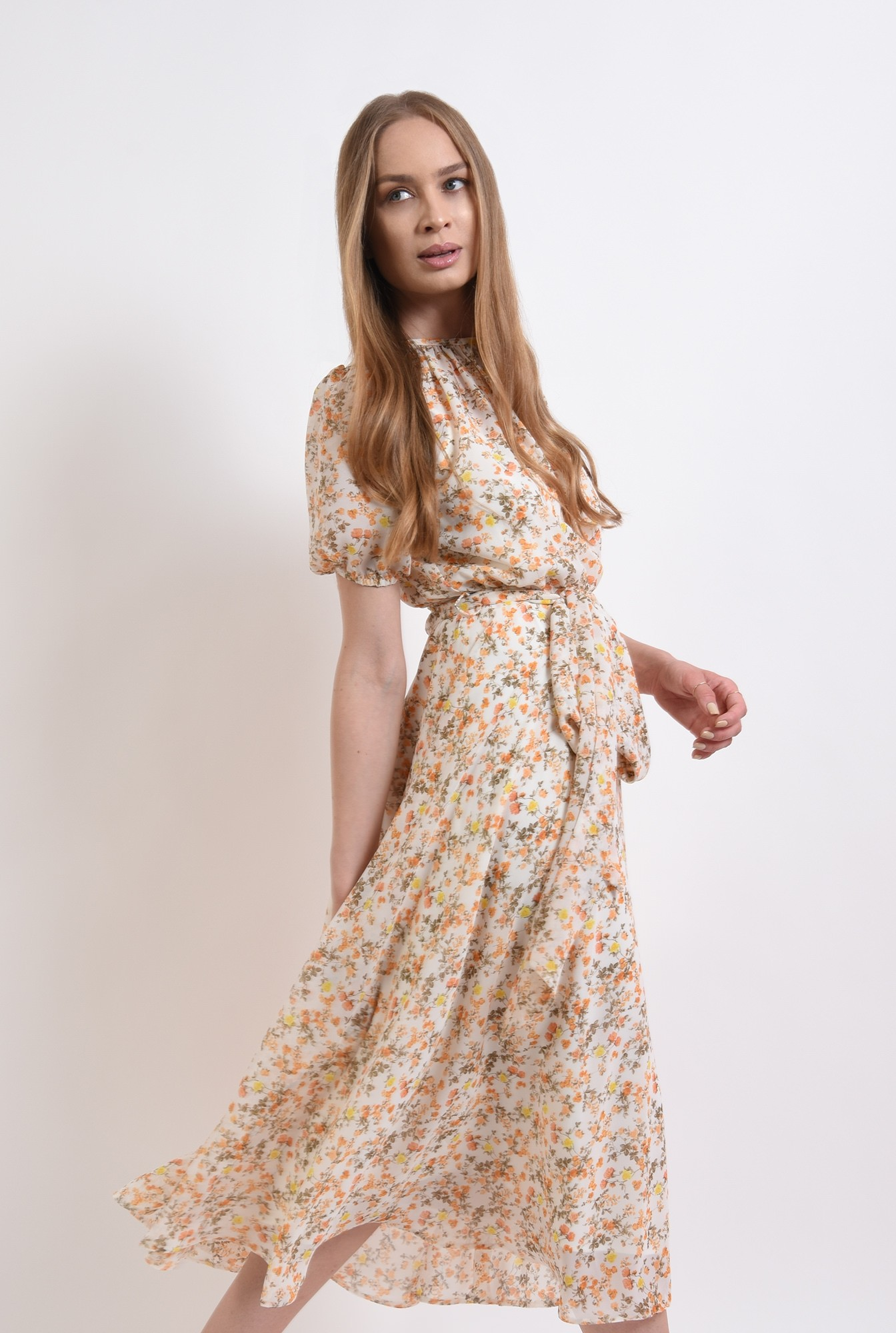 0 - rochie cu imprimeu floral, cu cordon, Poema