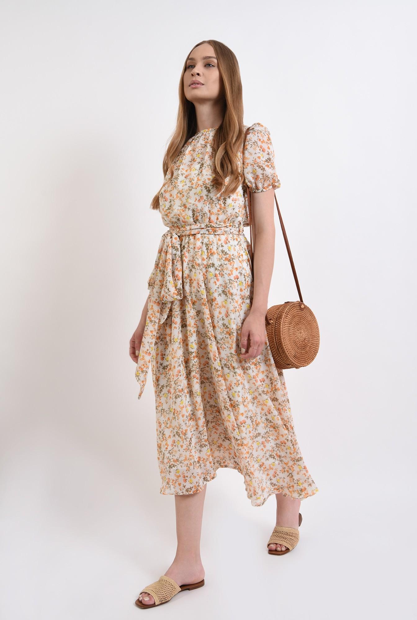 1 - rochie cu imprimeu floral, cu cordon, Poema