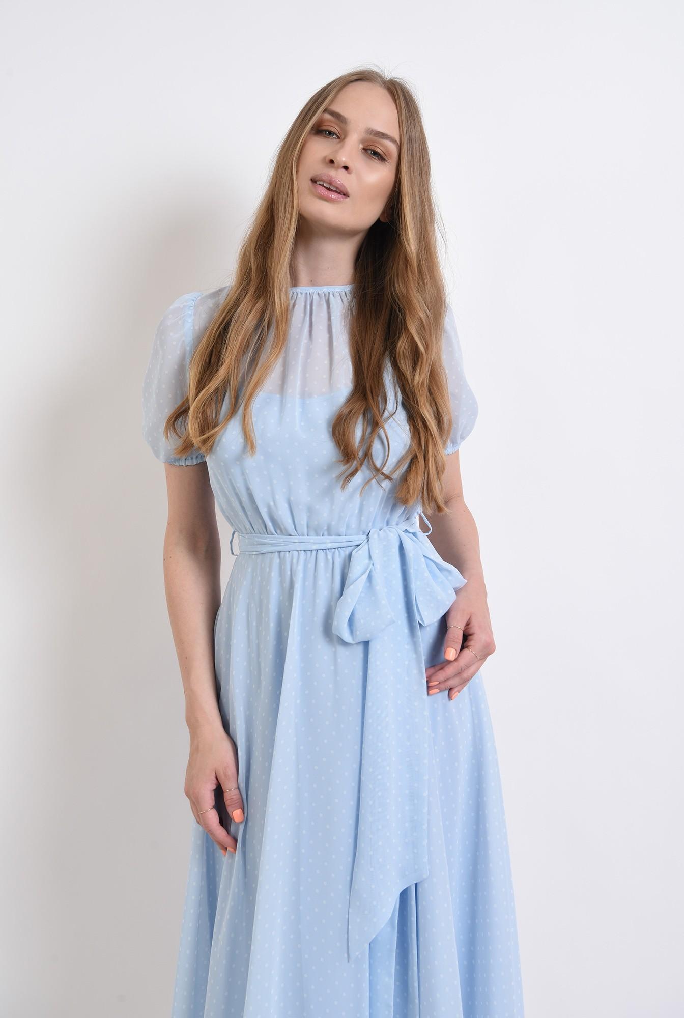 2 - rochie bleu, din voal, cu imprimeu