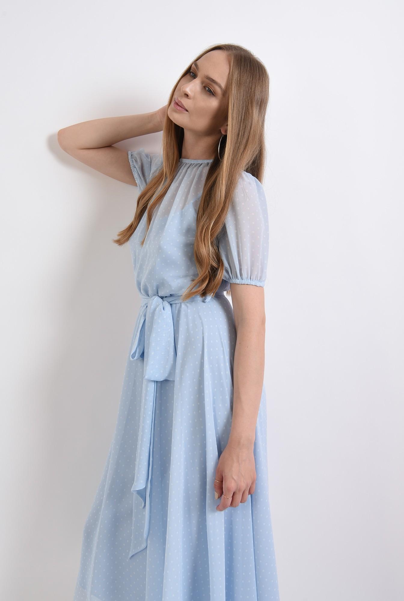 0 - rochie bleu, din voal, cu imprimeu